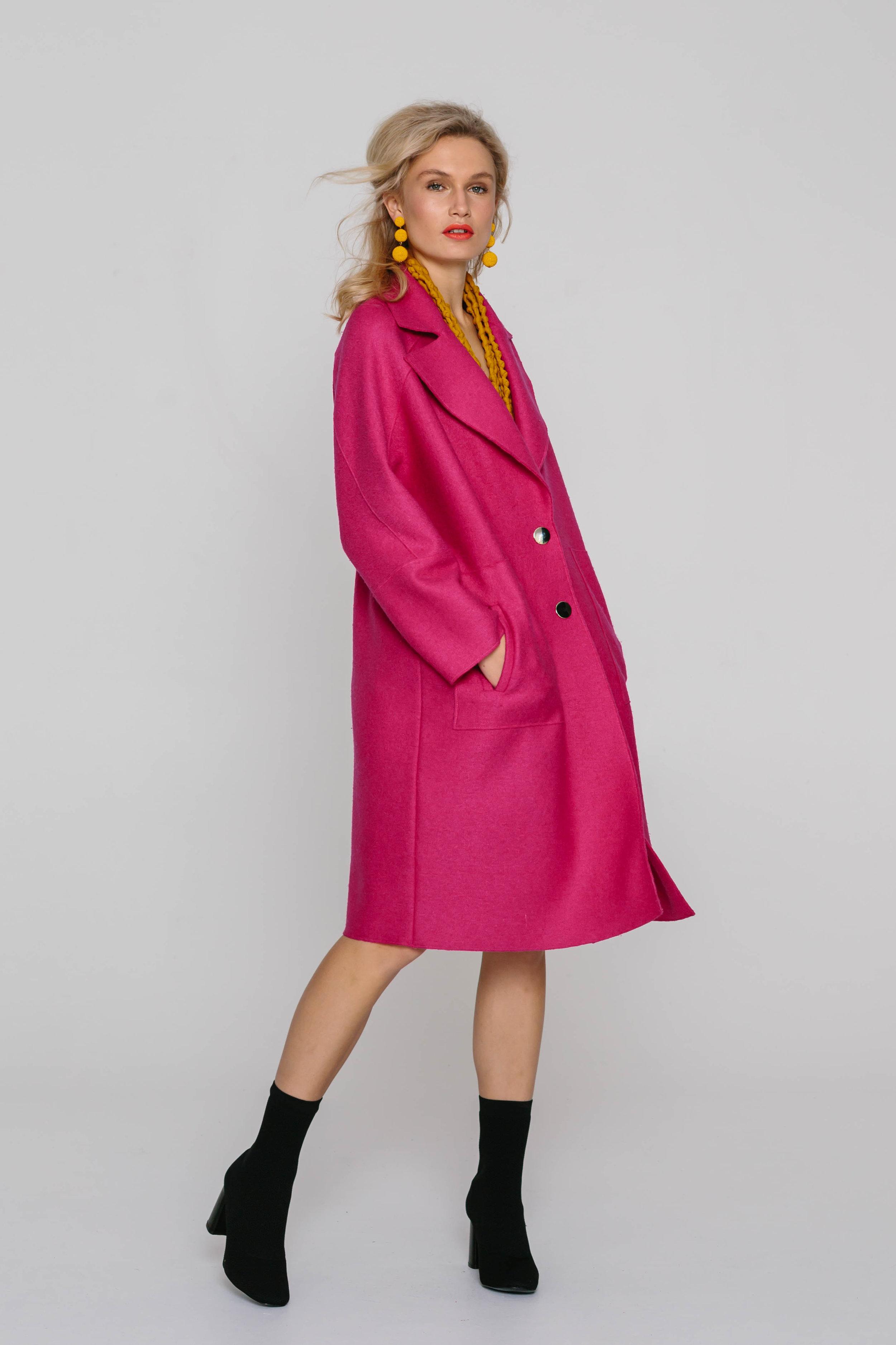 6166W Calista Coat Fuschia