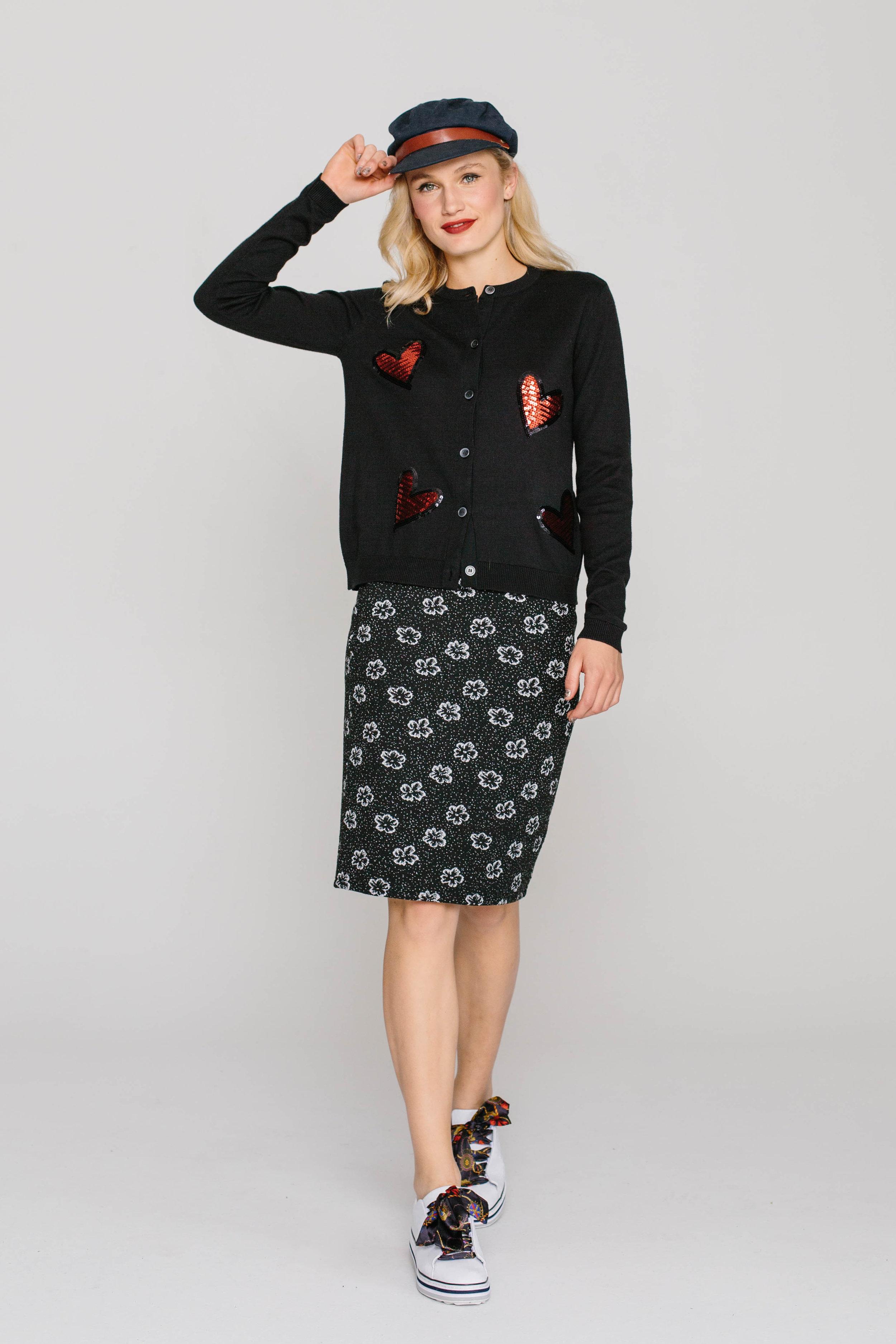 6198W Jewelled Cardi Love Hearts 4661W Skinny Skirt Black Sponge