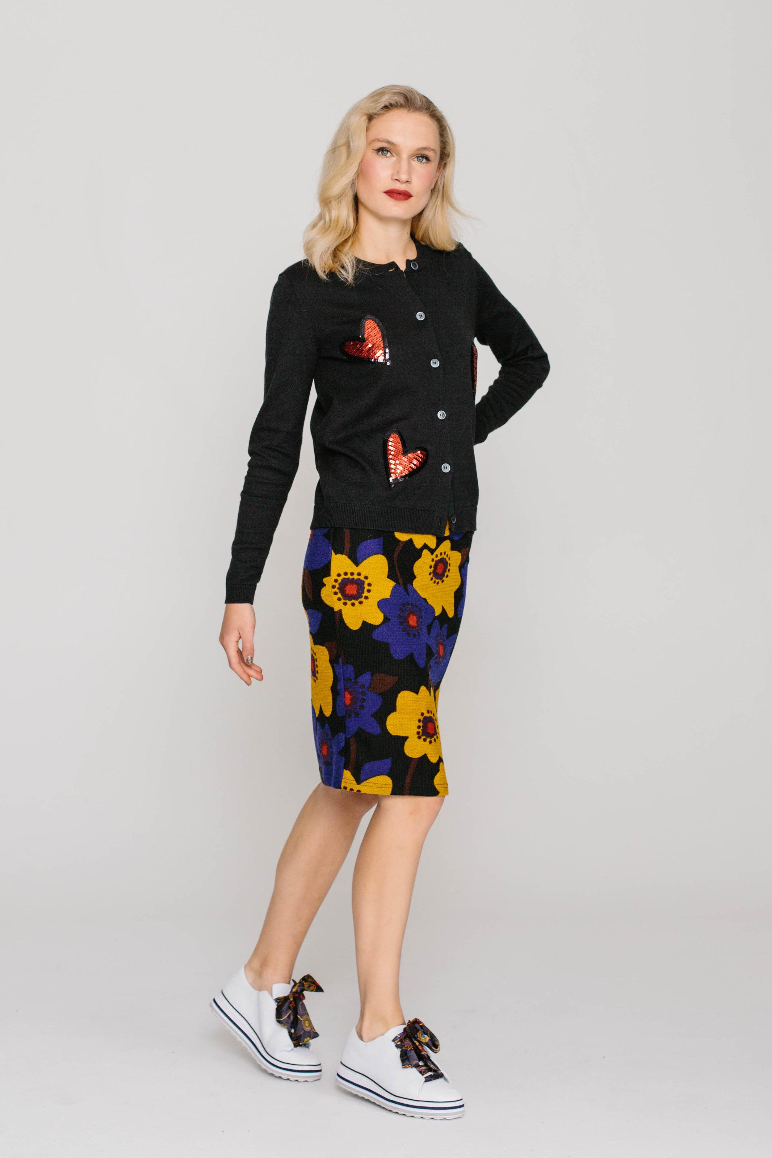 6198W Jewelled Cardi Love Hearts 4661W Skinny Skirt Delightful Dahlia