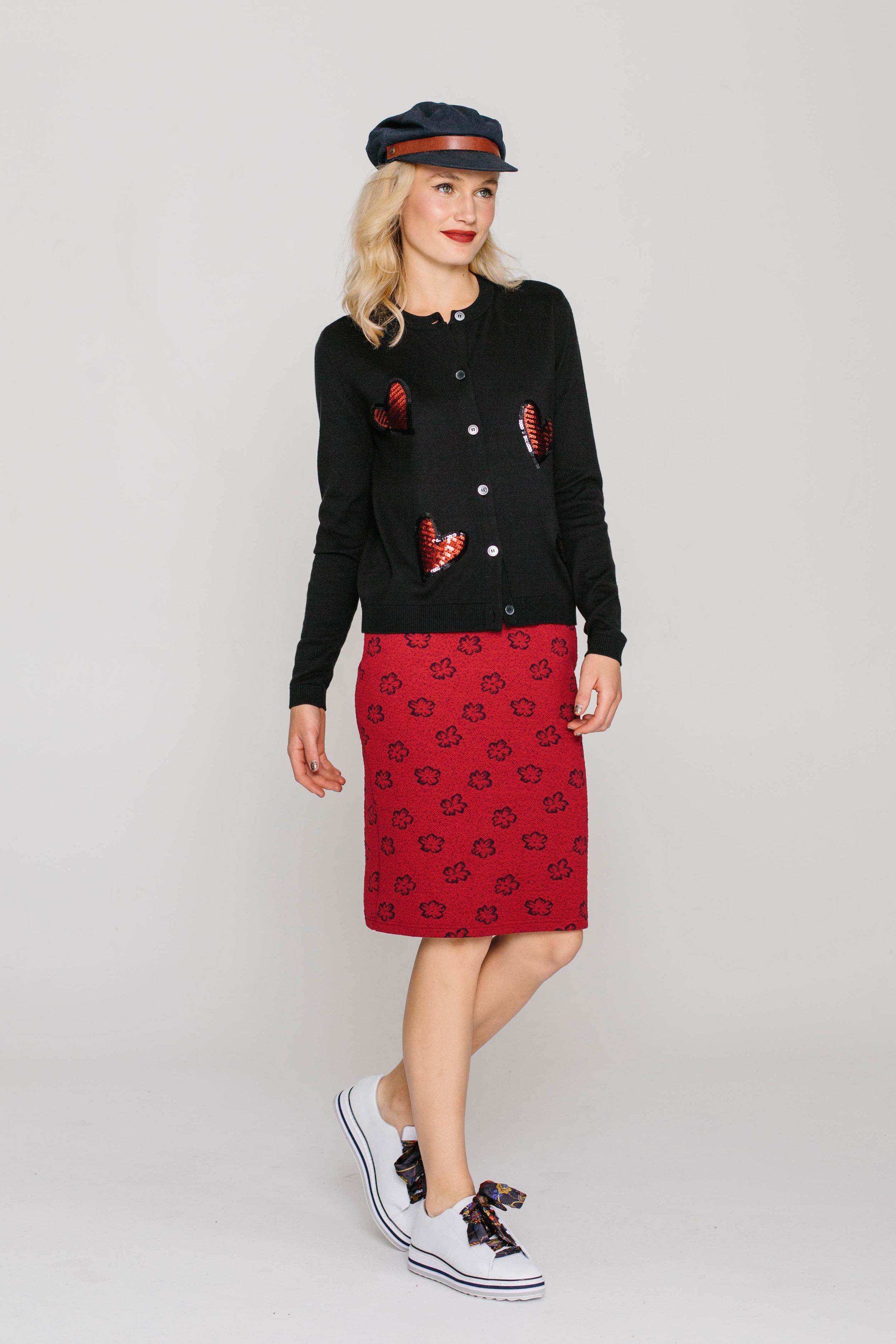 6198W Jewelled Cardi Love Hearts 4661W Skinny Skirt Red Sponge