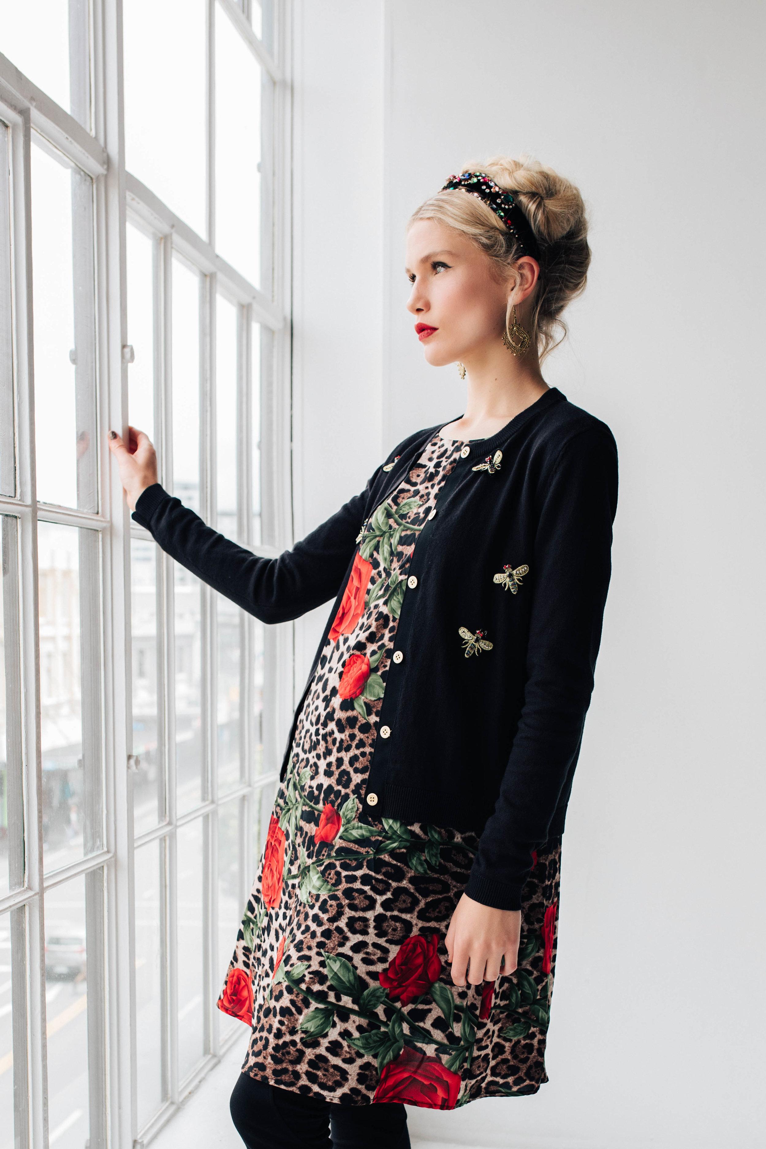 5906W Shilo Dress Red Rose Skin 6198W Jewelled Cardi Glamour Gold