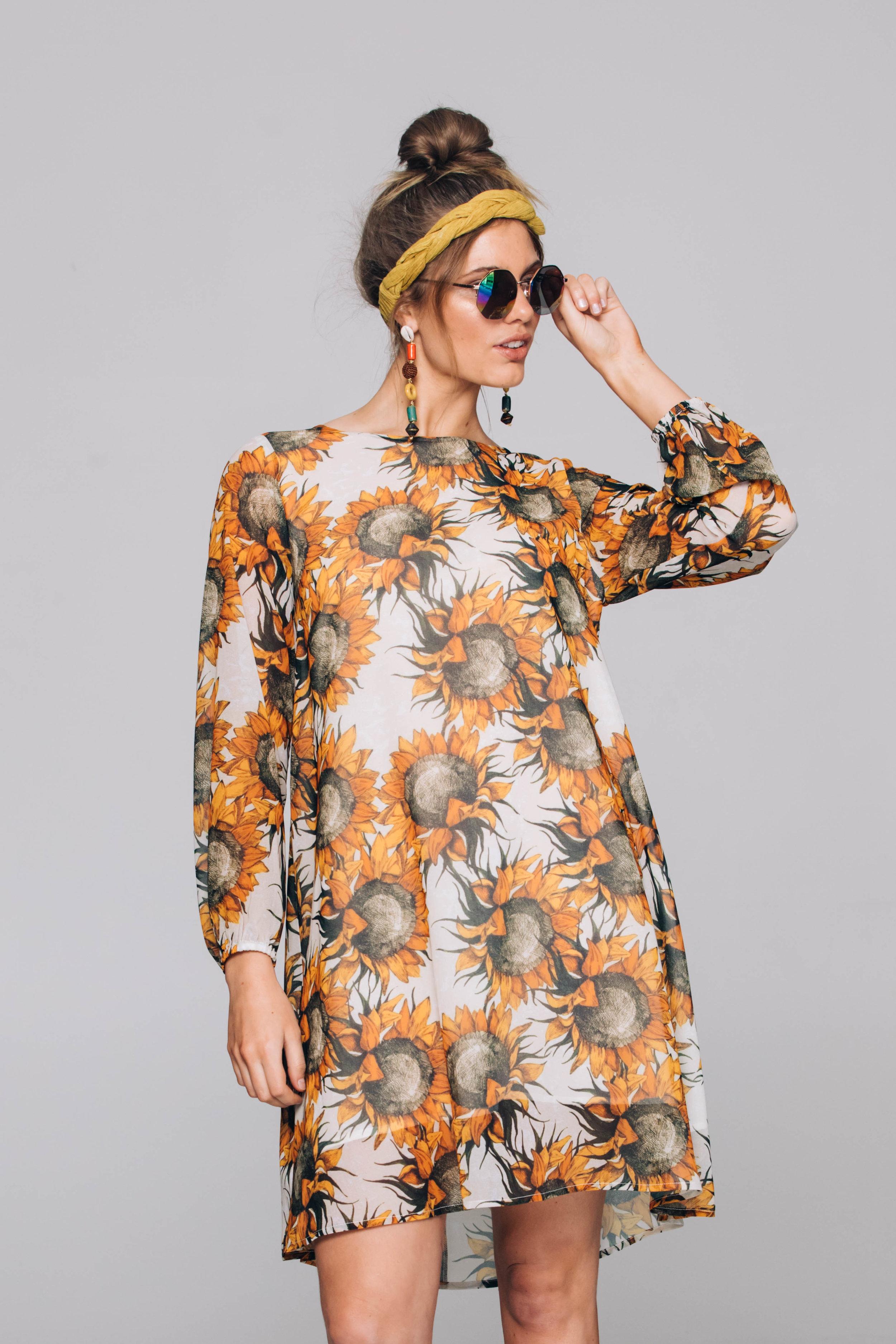 5906T Shilo Dress, Large Sunflowers