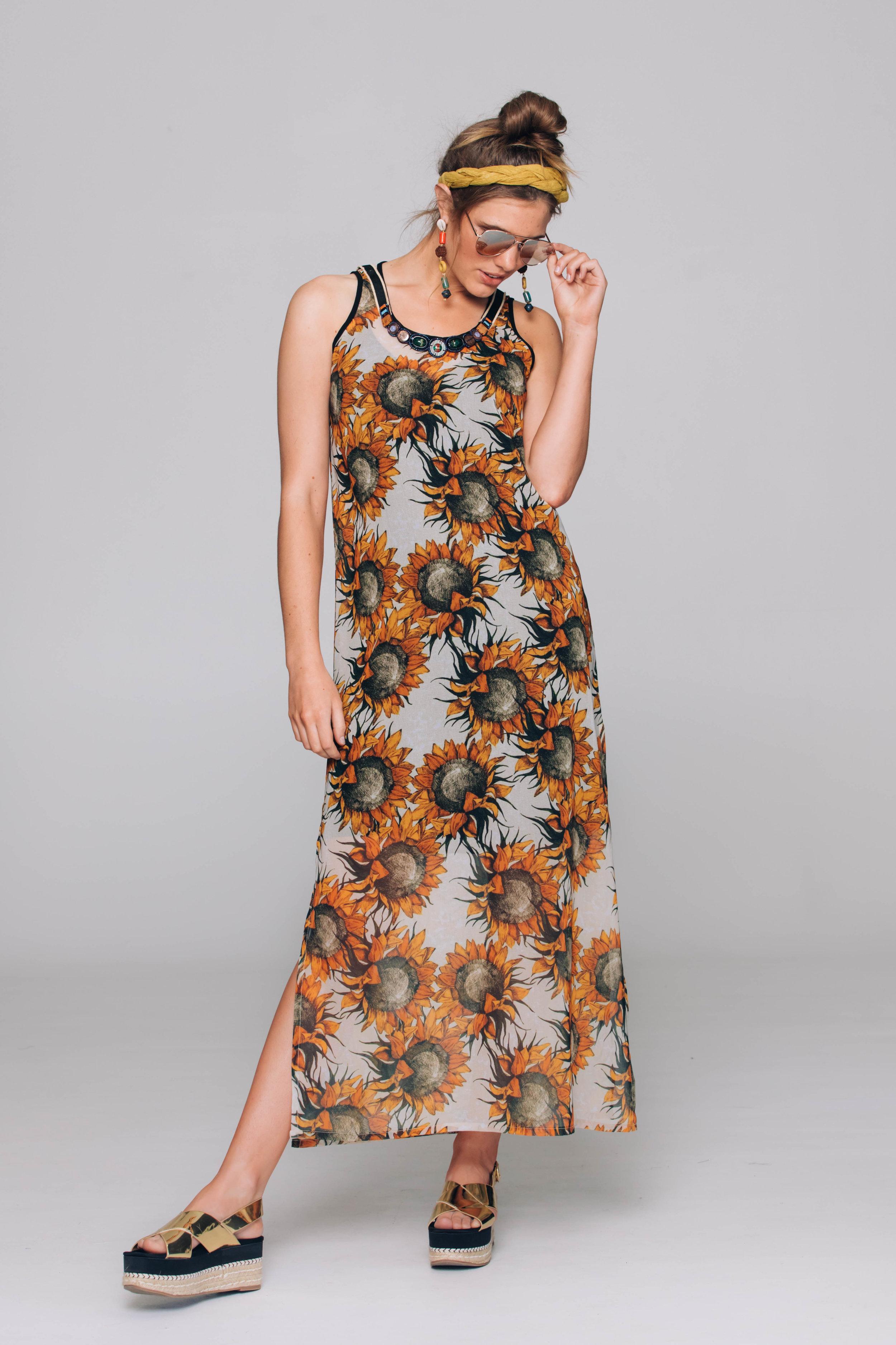 6021T Sunset Dress, Large Sunflowers