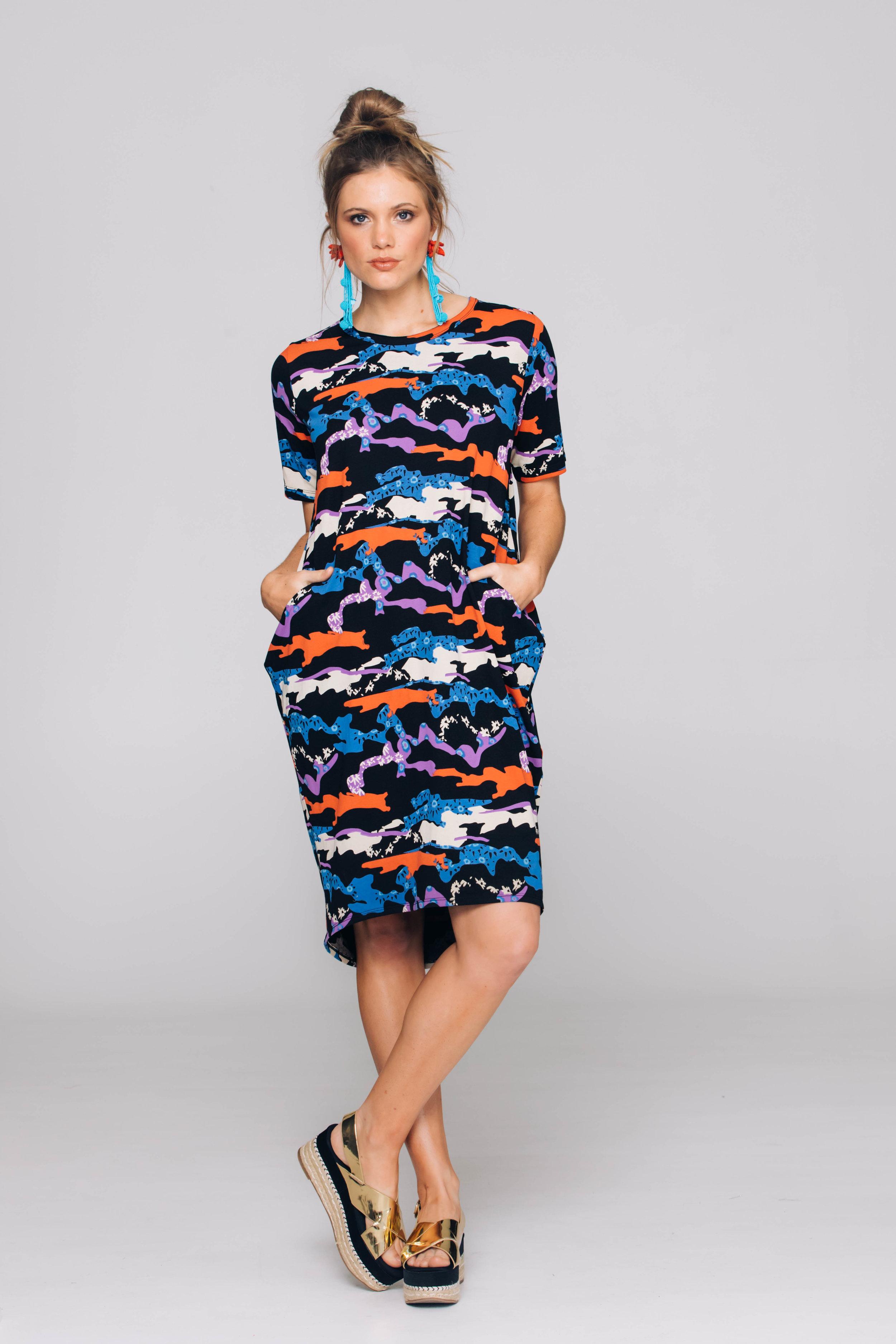 6163T Halo Dress, Cactus Black