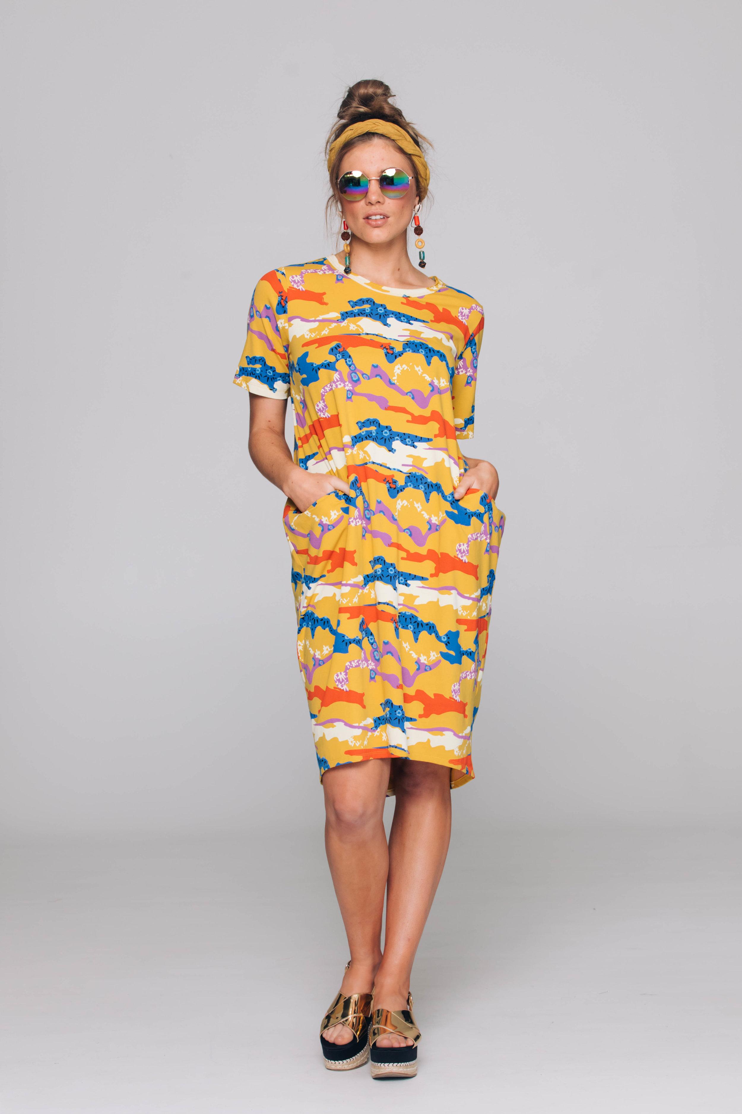 6163T Halo Dress, Cactus Mustard