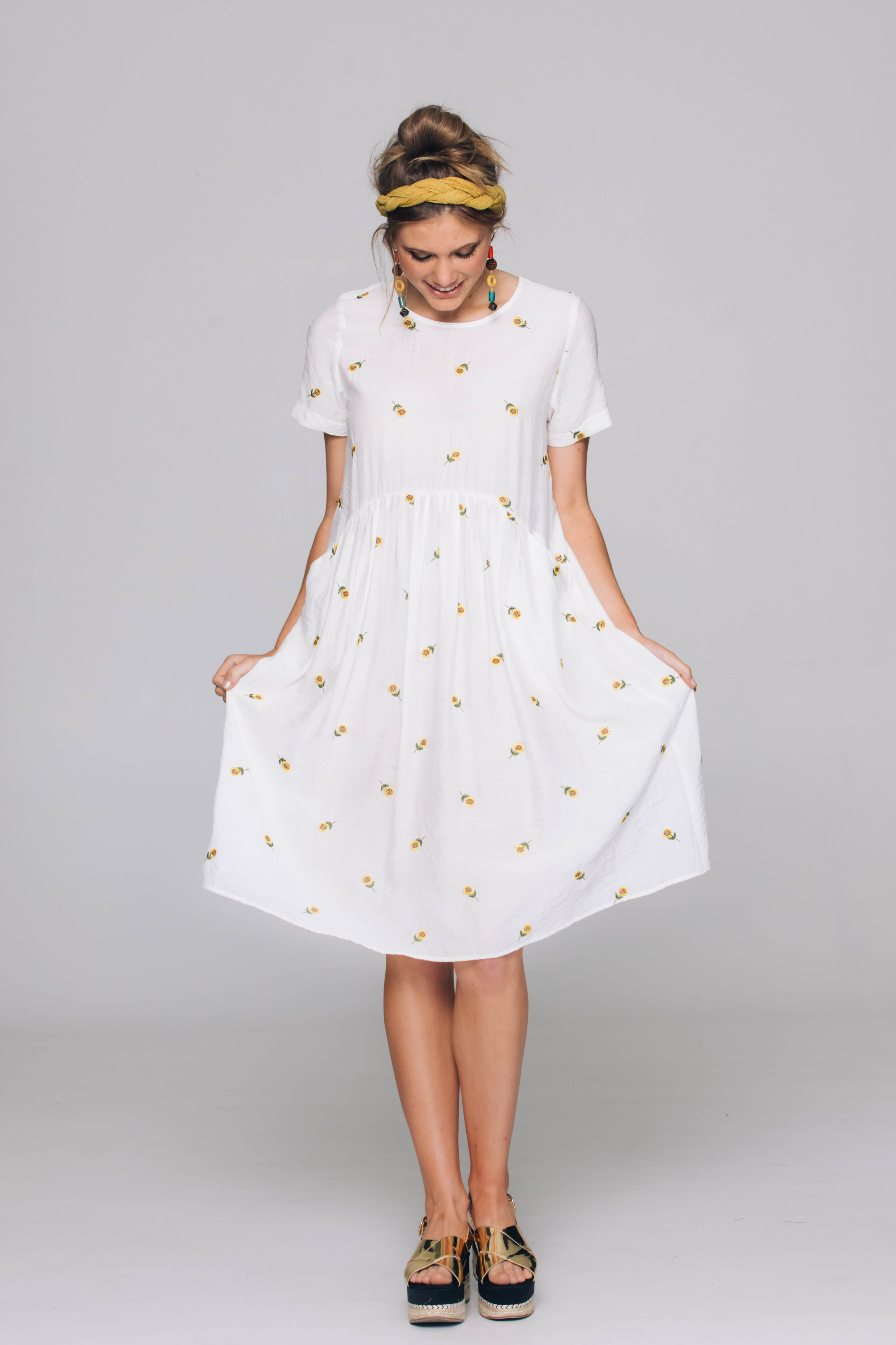 6177T Venice Dress, Suzi Sunflower Ivory