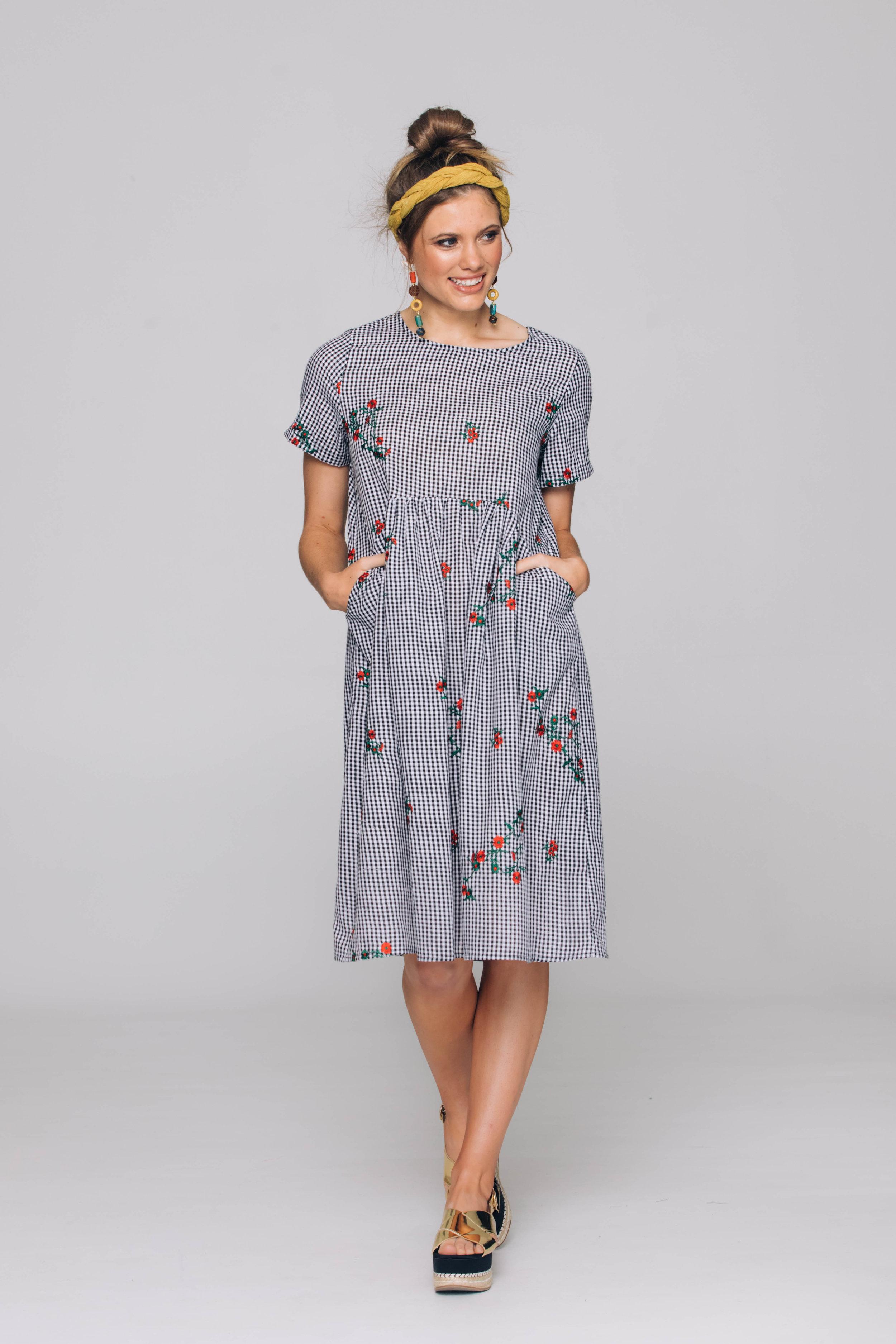 6177T Venice Dress, Rosey Gingham