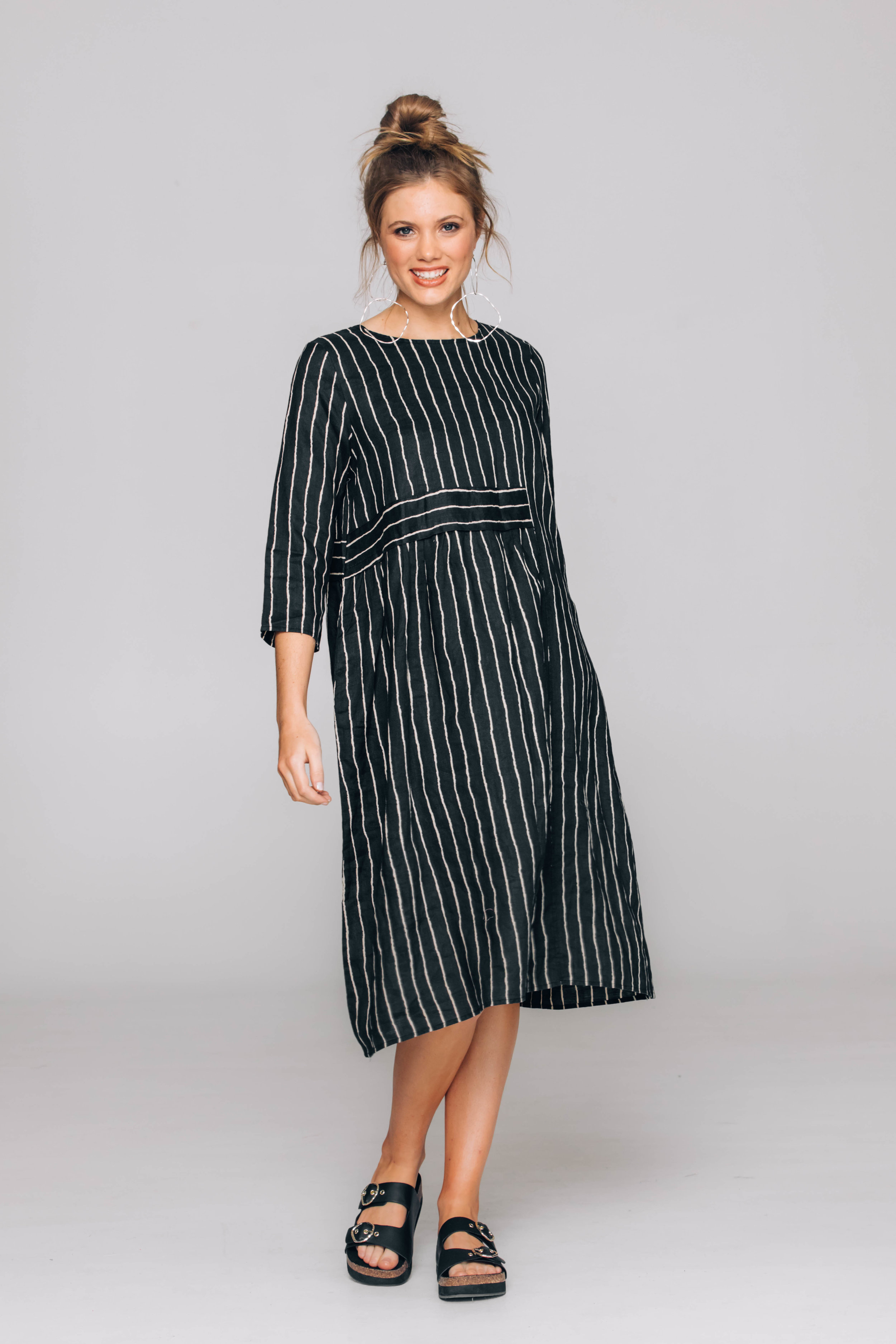 6236T Nellie Dress, Stripe Linen