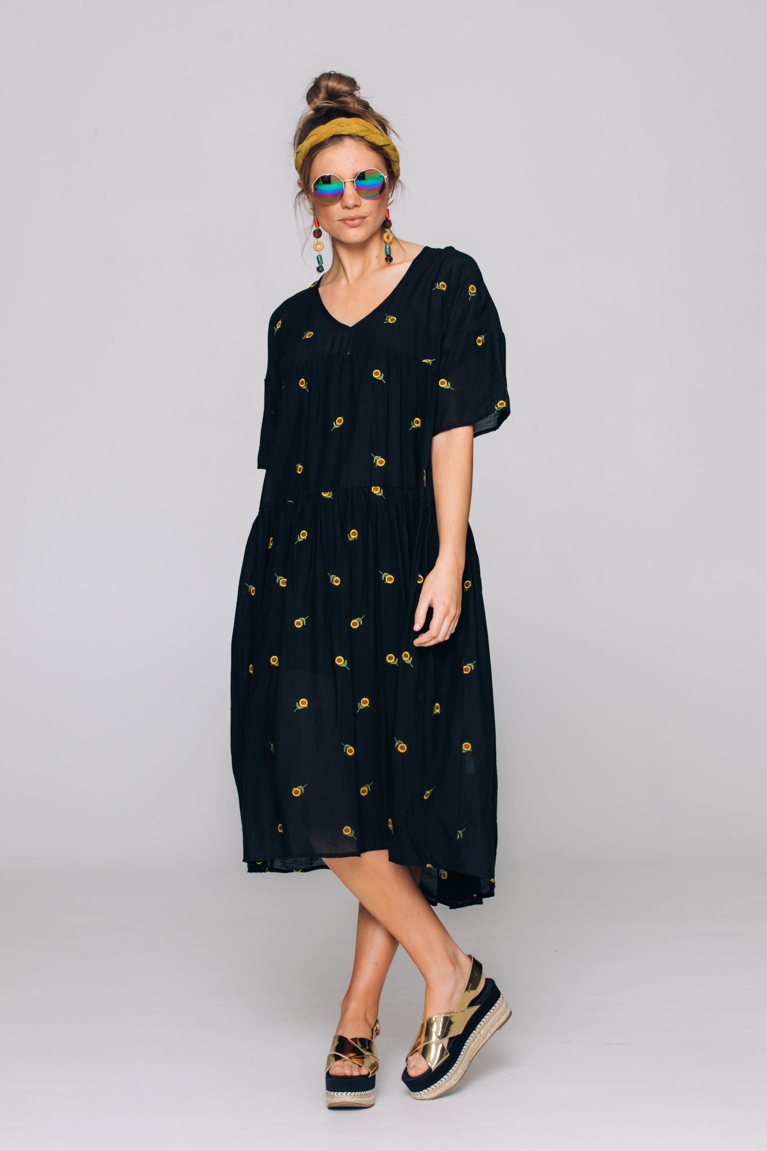 6241T Indie Dress, Suzi Sunflower Black