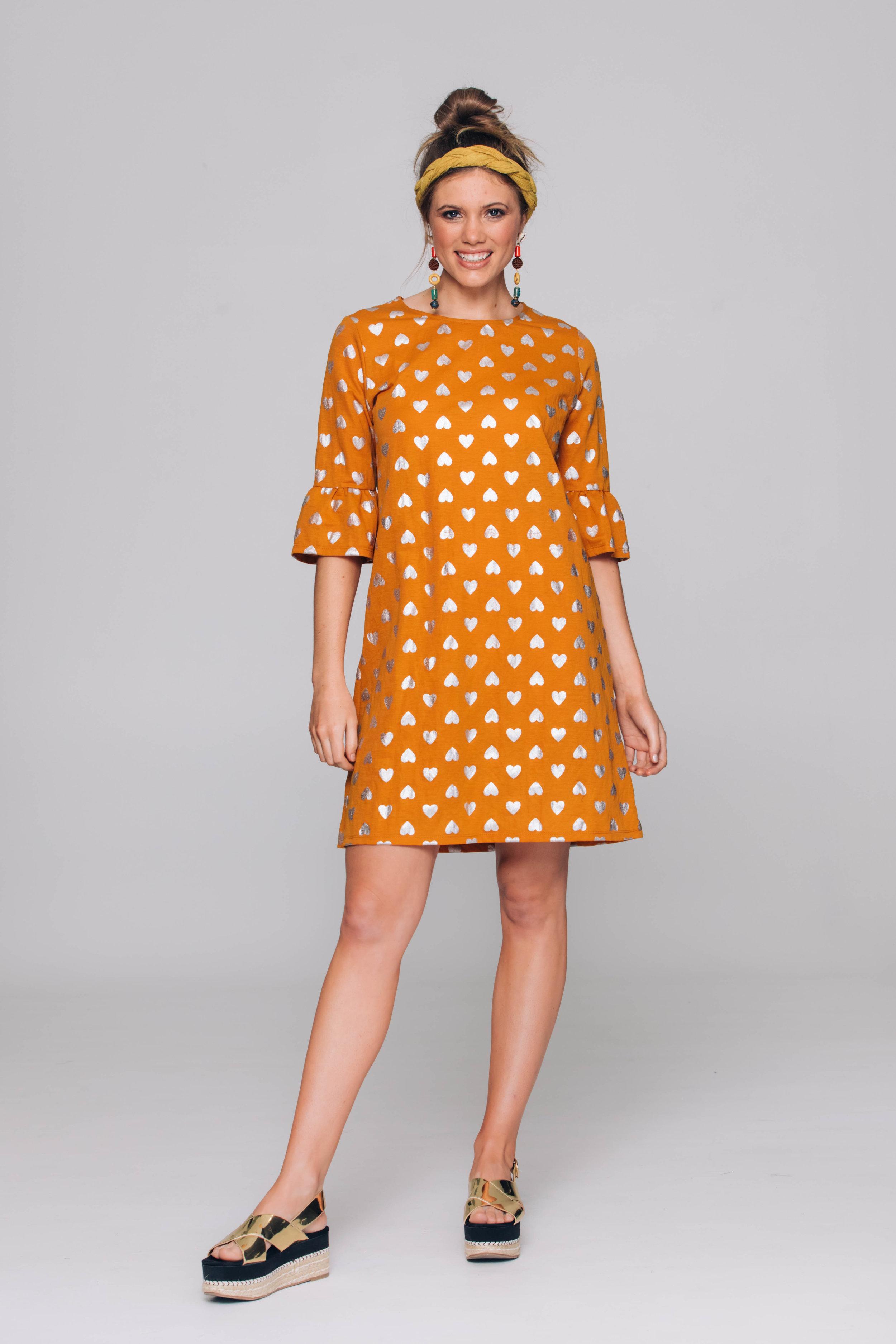 6261T Eliana Dress, Silver Bullet Mustard