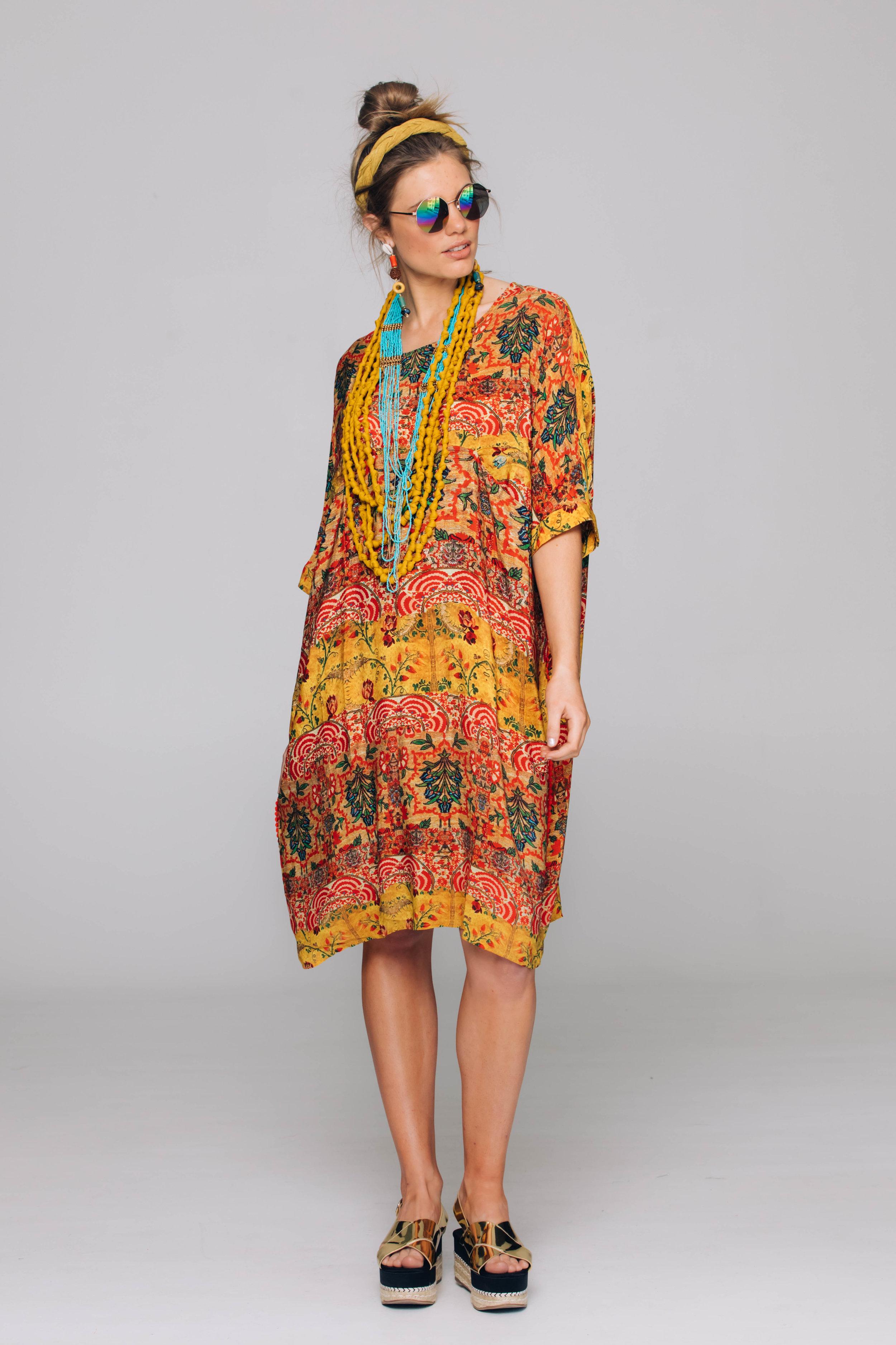 6286T Pocket Dress, Ethnic Gold