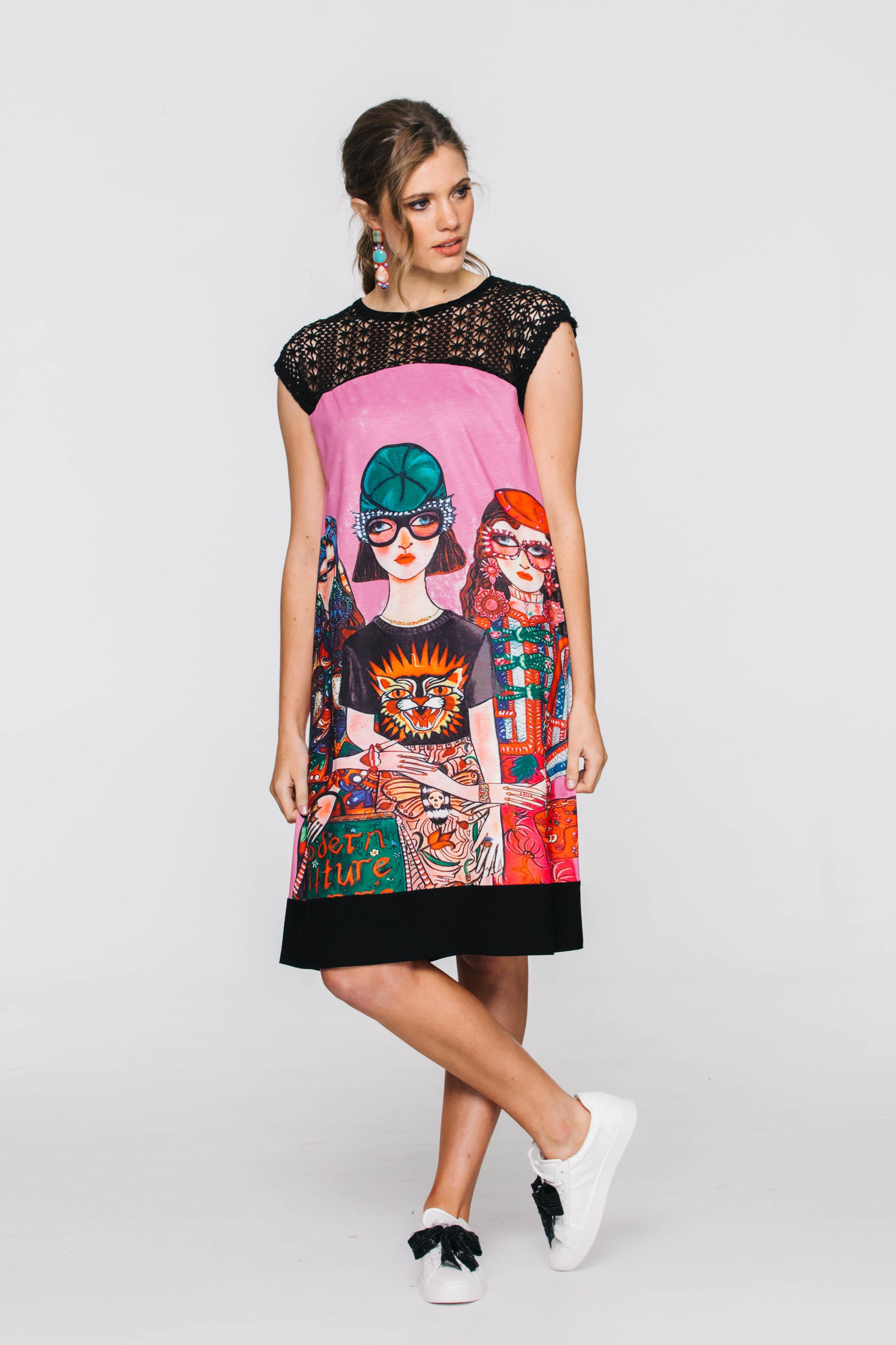 5857V Patch Me Up Dress, Pink Ladies