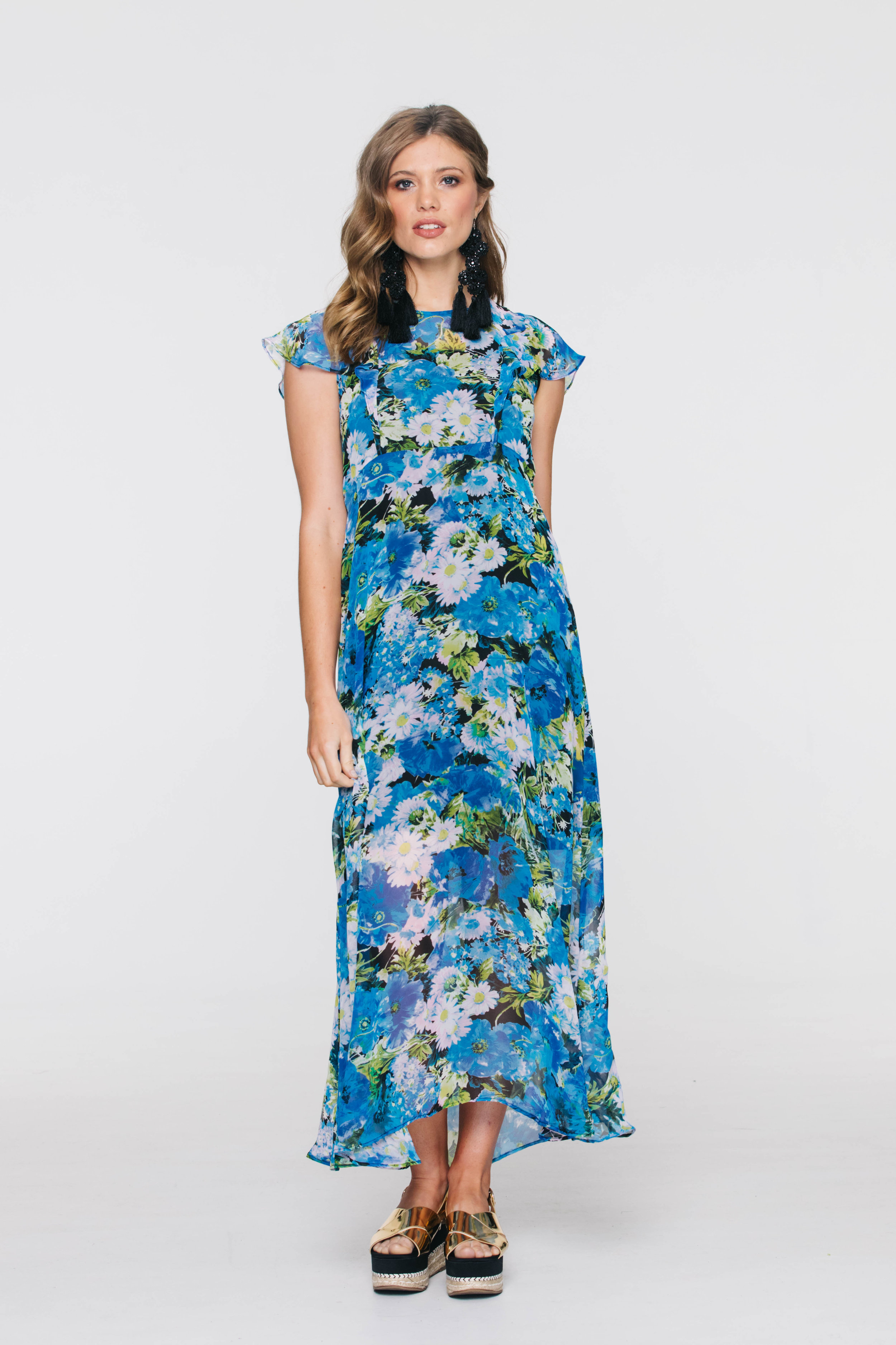 5877V Meadow Dress, Boho Blue