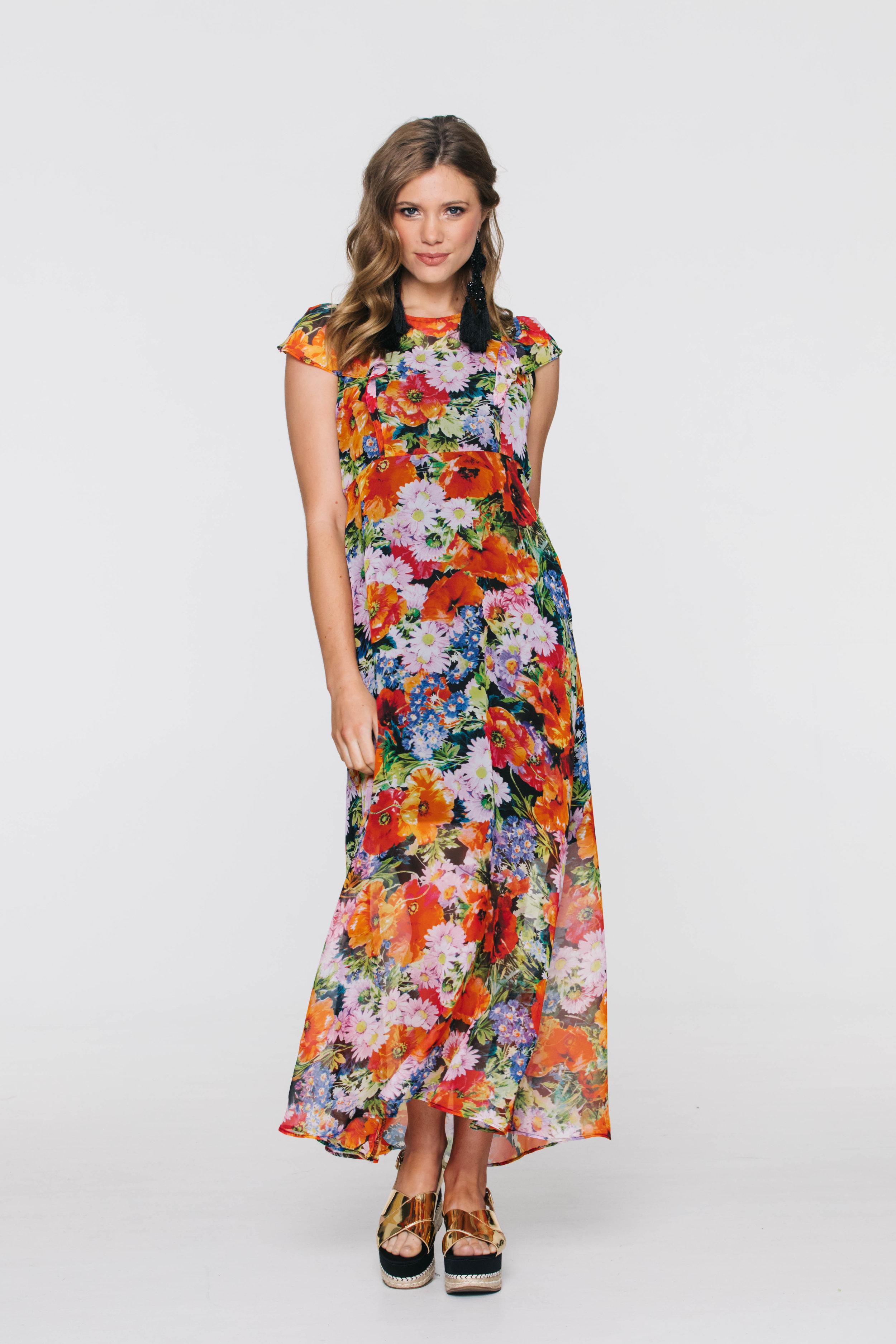 5877V Meadow Dress, Boho Orange
