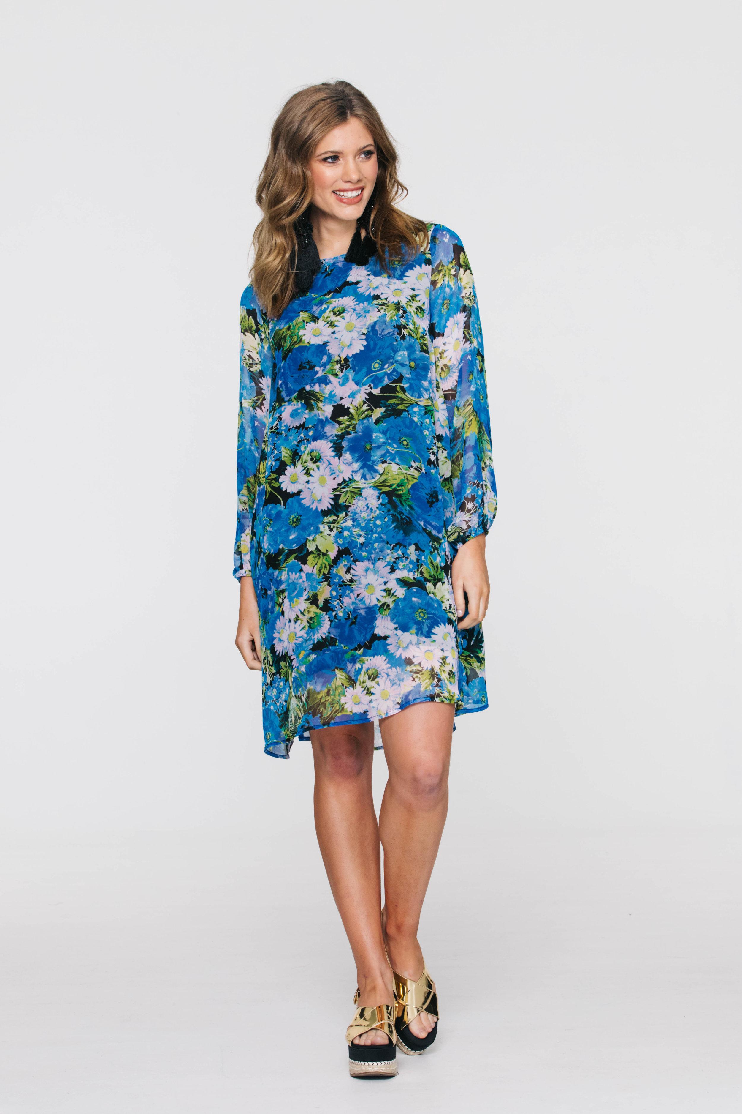 5906V Shilo Dress, Boho Blue