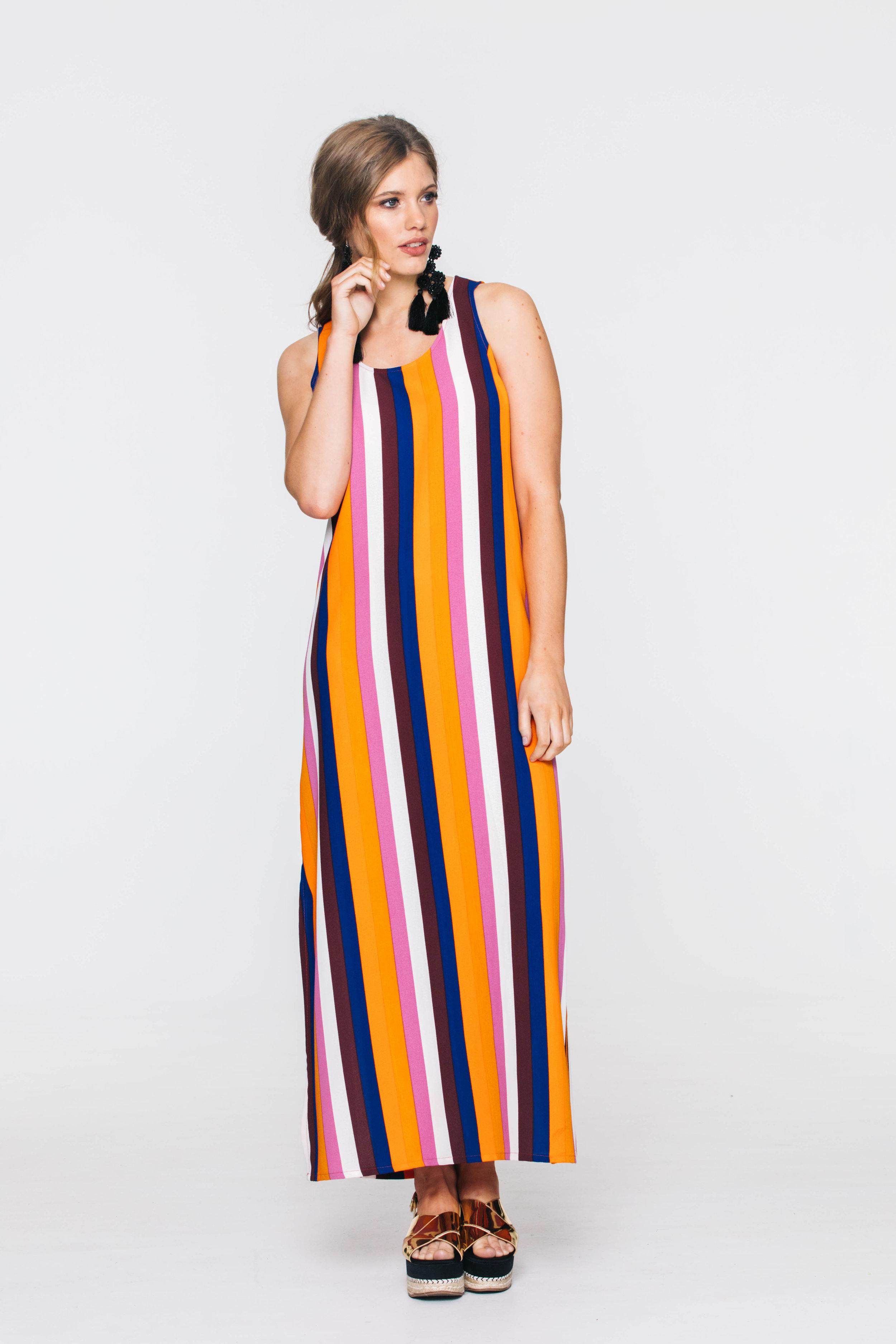 6021V Sunset Dress, Chunky Stripe Multi