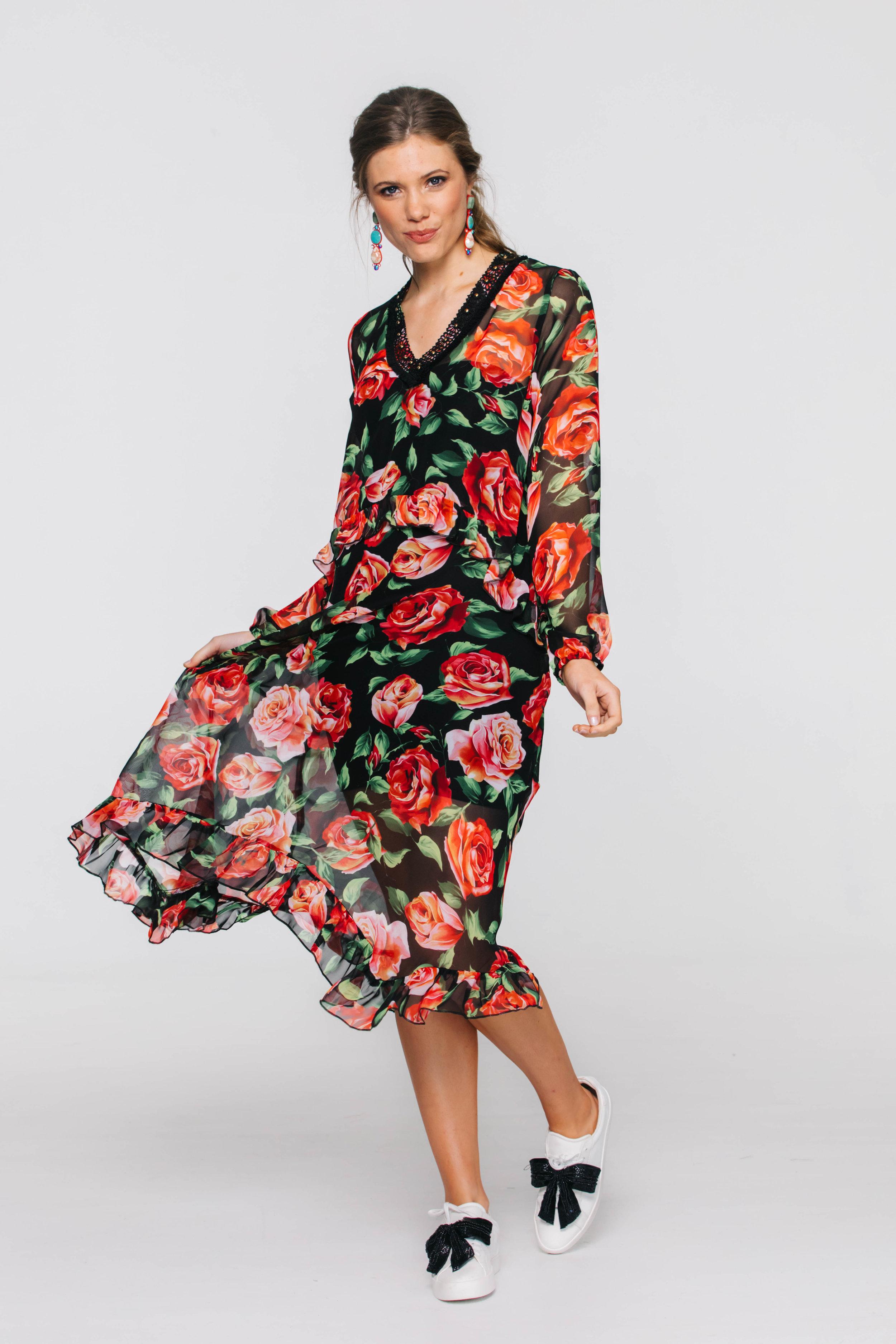 6195V Kiss Me Dress, Dolce Rose Chiffon Black