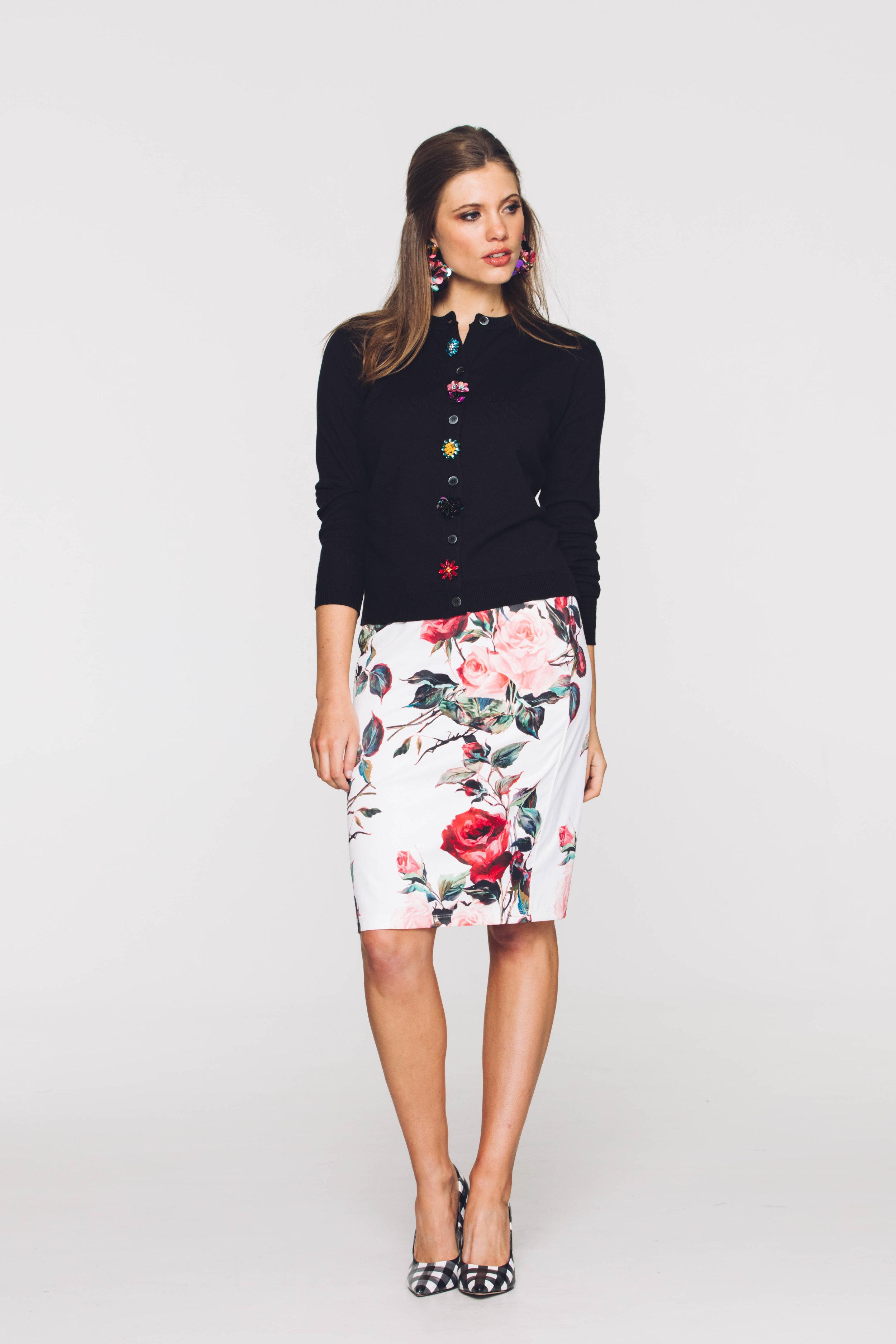 6198V Jewelled Cardi, Black, 4661V Skinny Skirt, Dolce Rose White