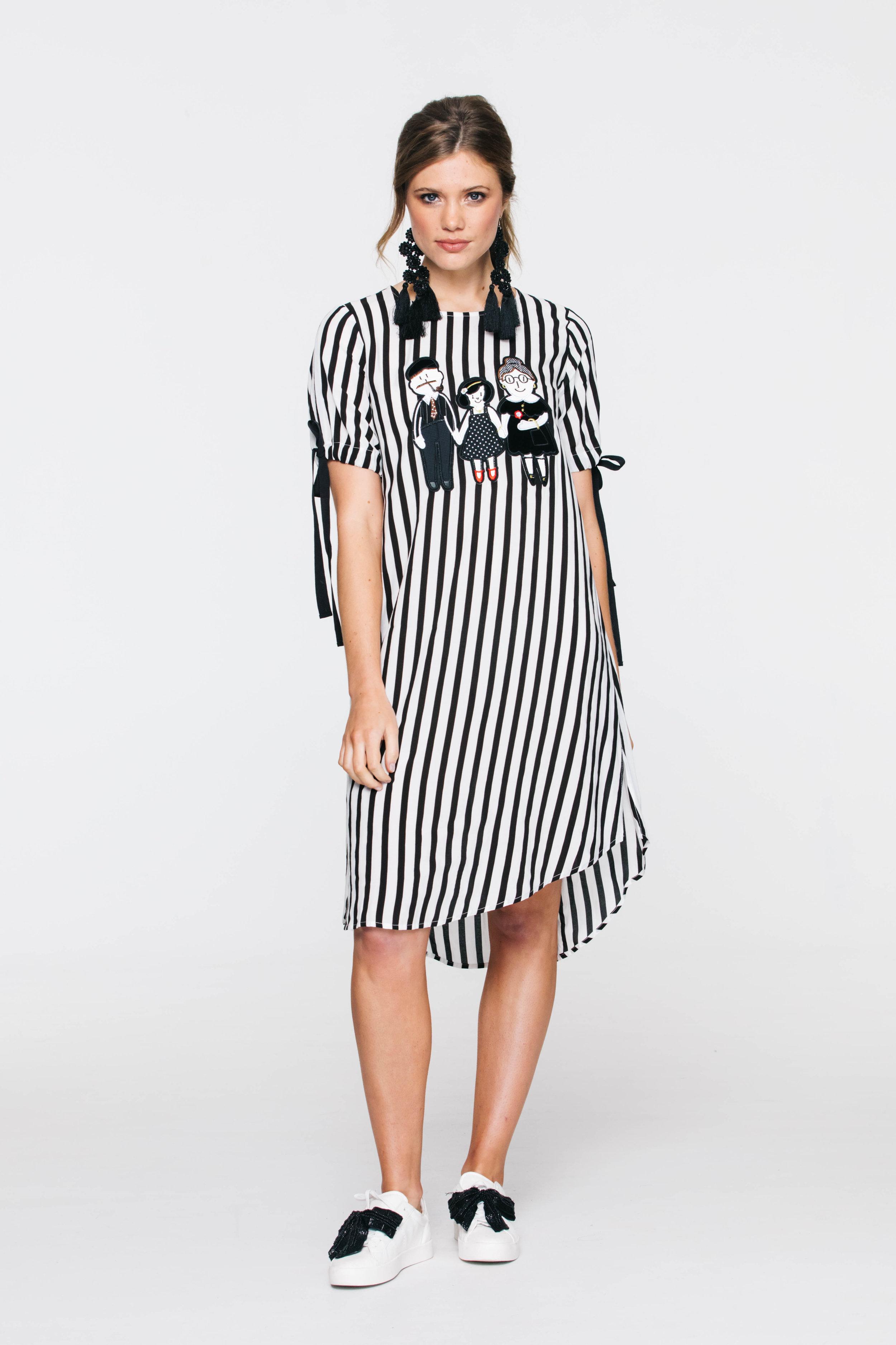 6228V Saloon Dress, Stripe Trimmed