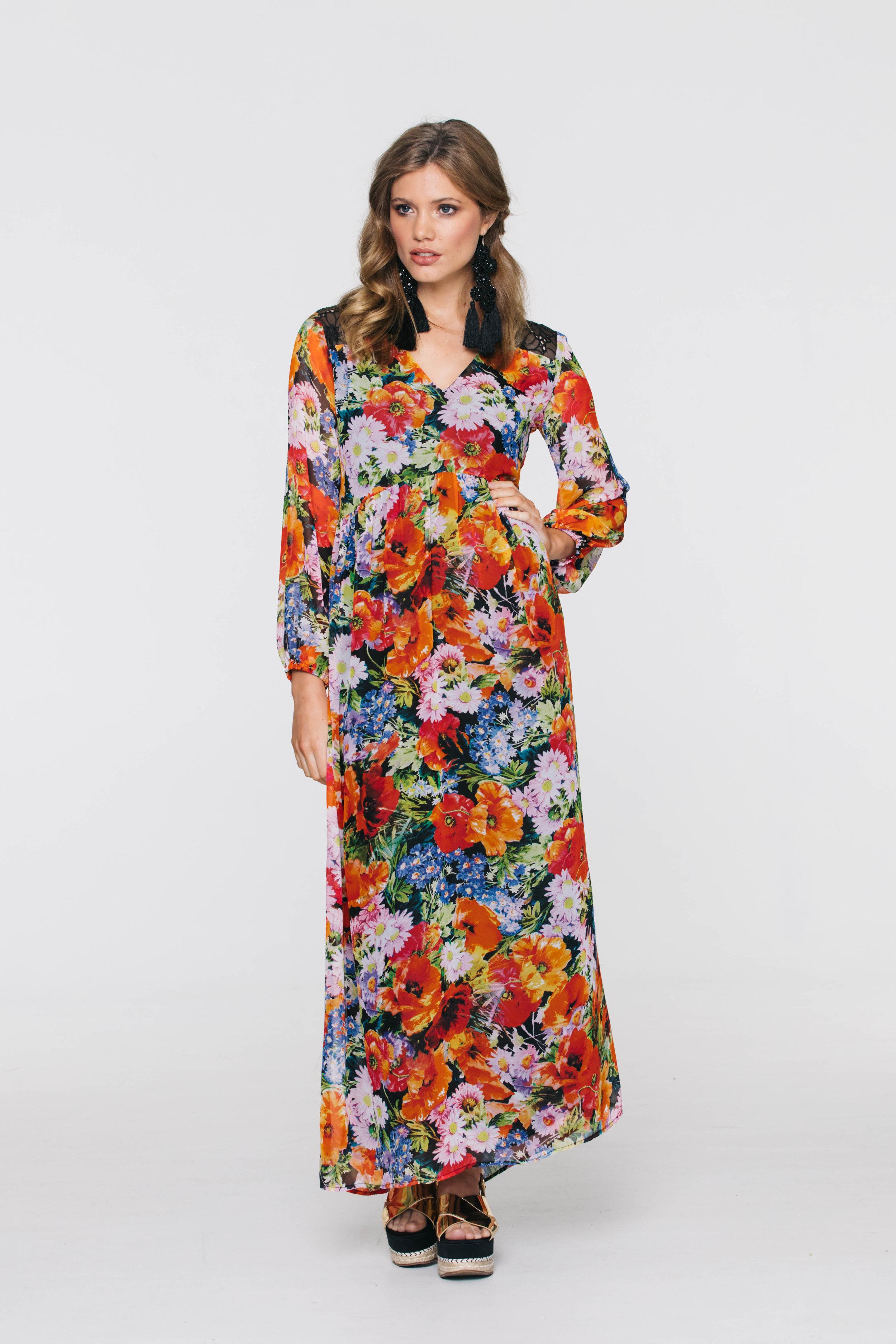 6272V Georgia Dress, Boho Orange