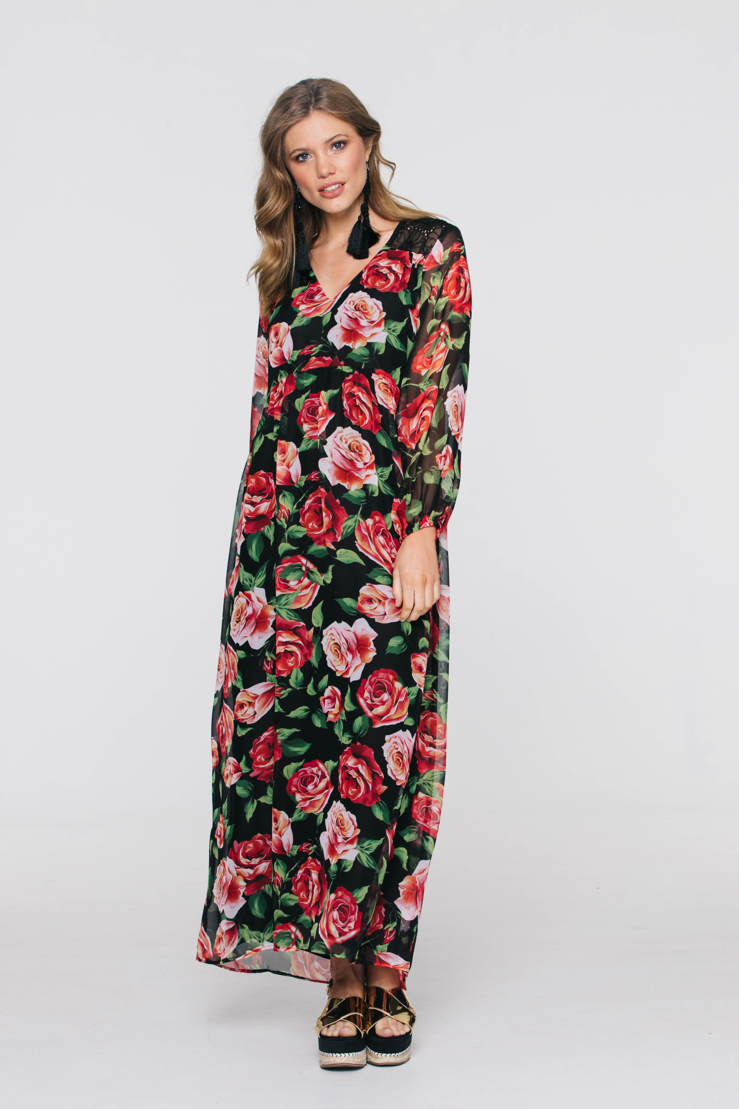 6272V Georgia Dress, Dolce Rose Chiffon Black