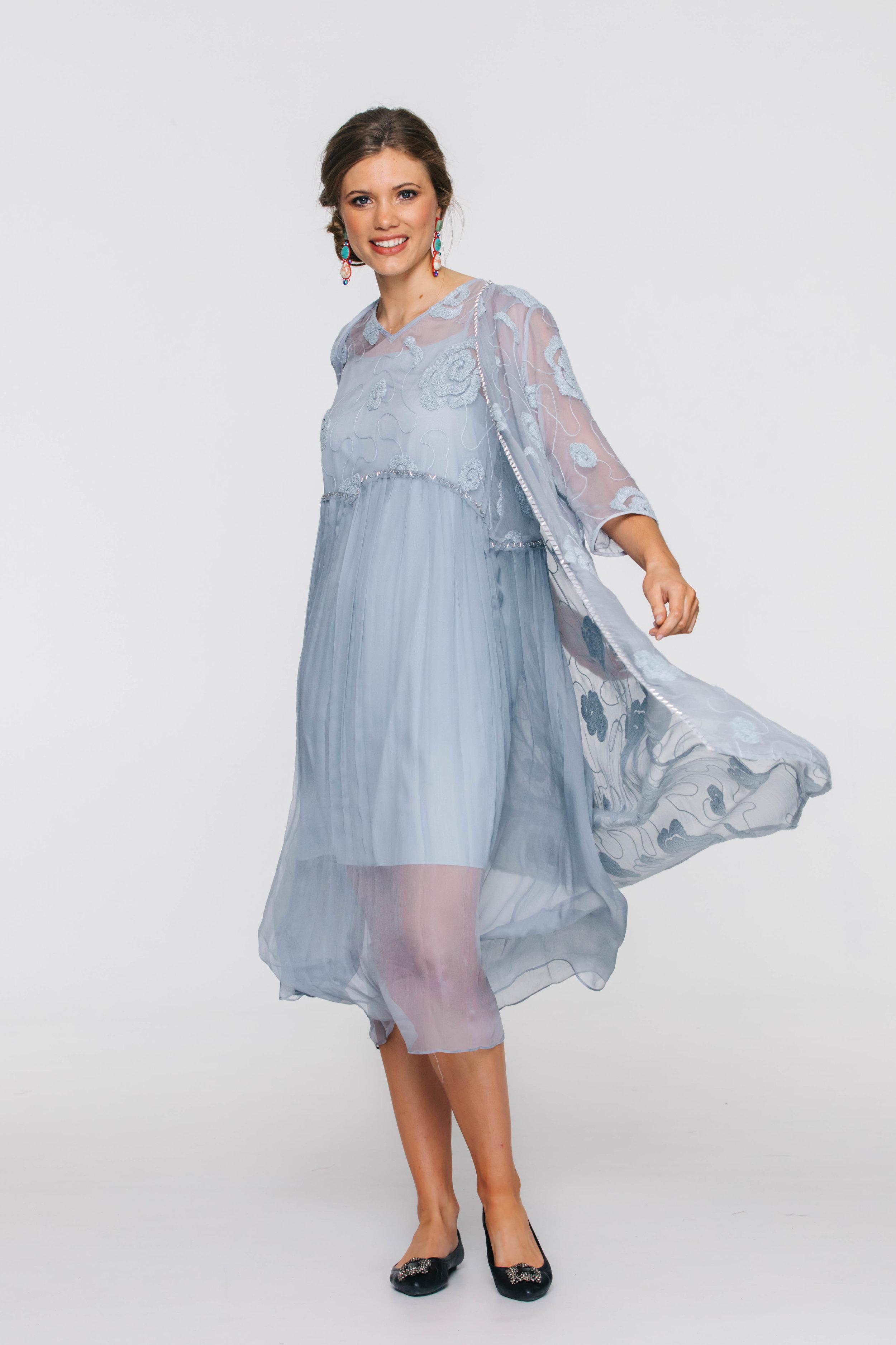6296V Tali Coat, Blue; 6297V Tali Dress