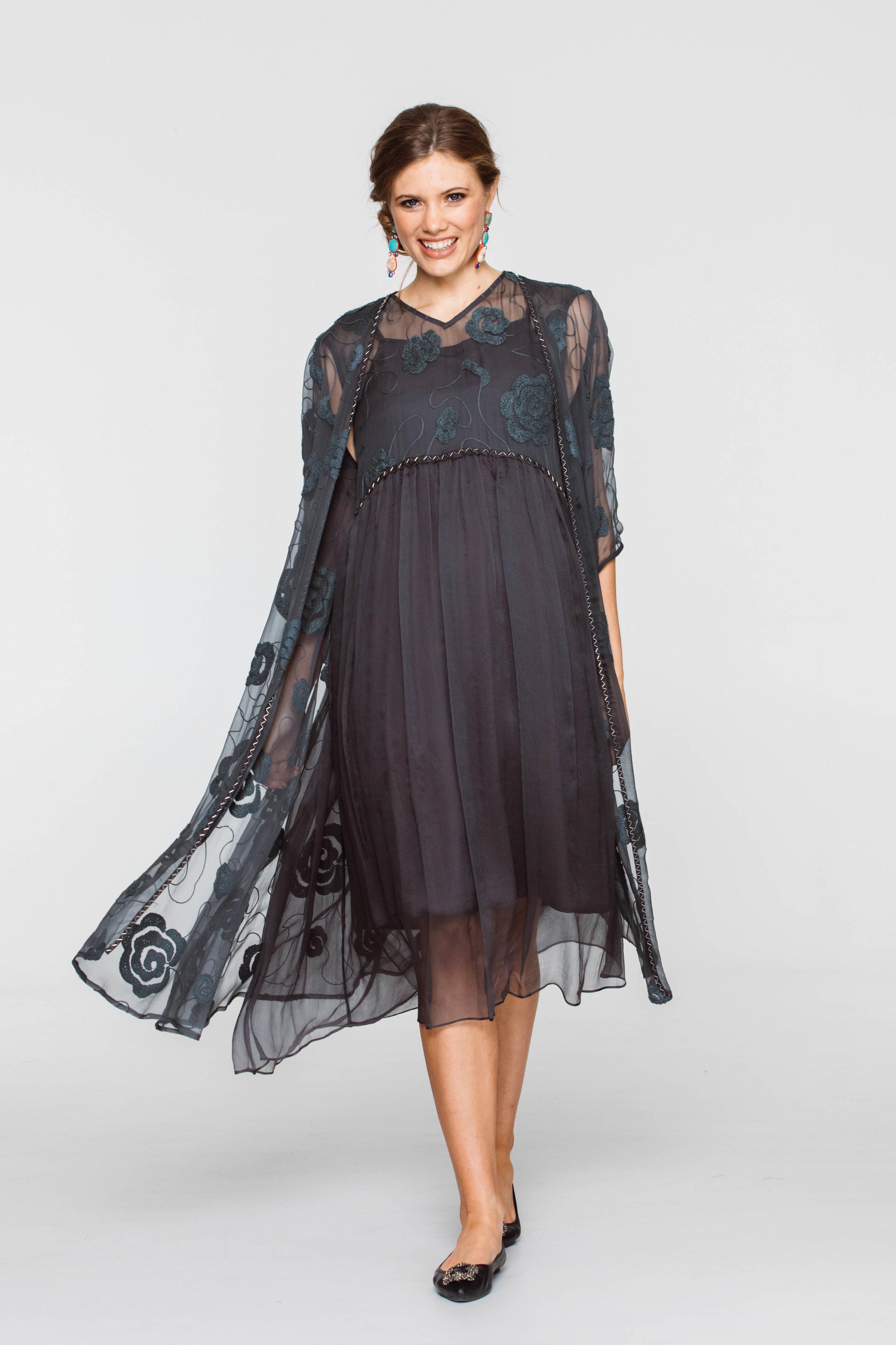 6296V Tali Coat, 6297V Tali Dress, Grey
