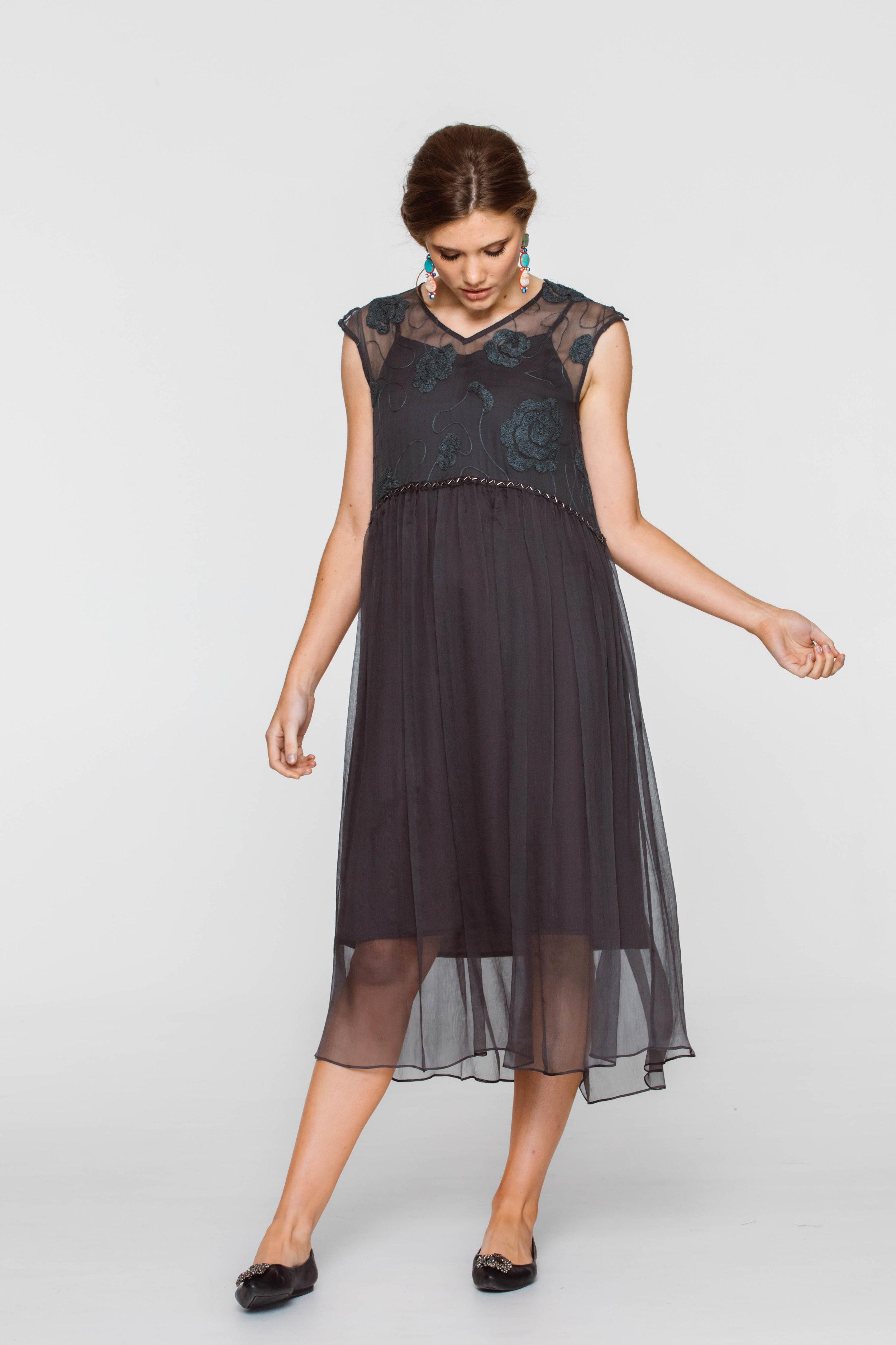 6297V Tali Dress, Grey