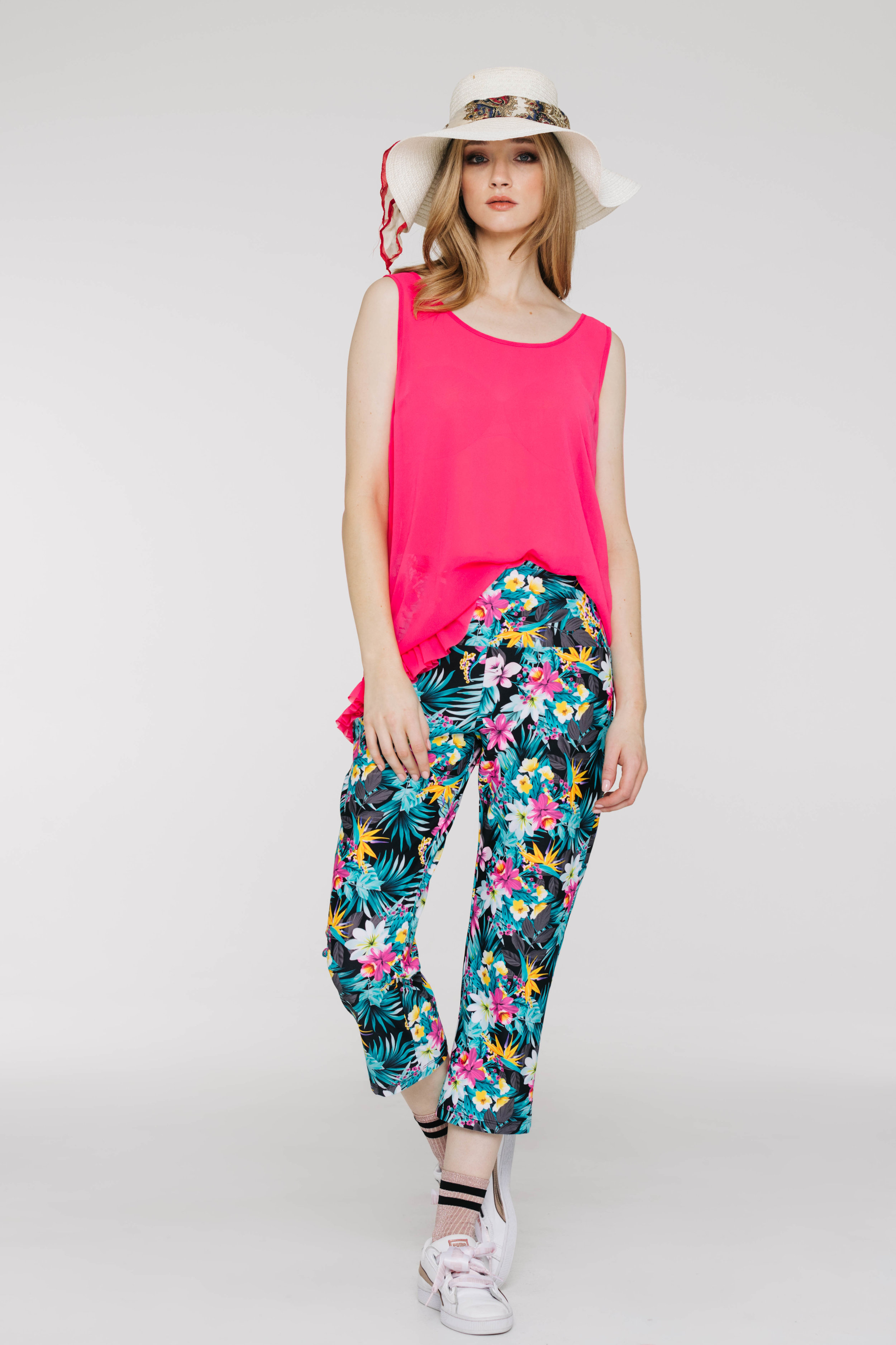 Frilly Singlet 6465P Hot Pink, Pilazzo Pant 3432P Tropicano