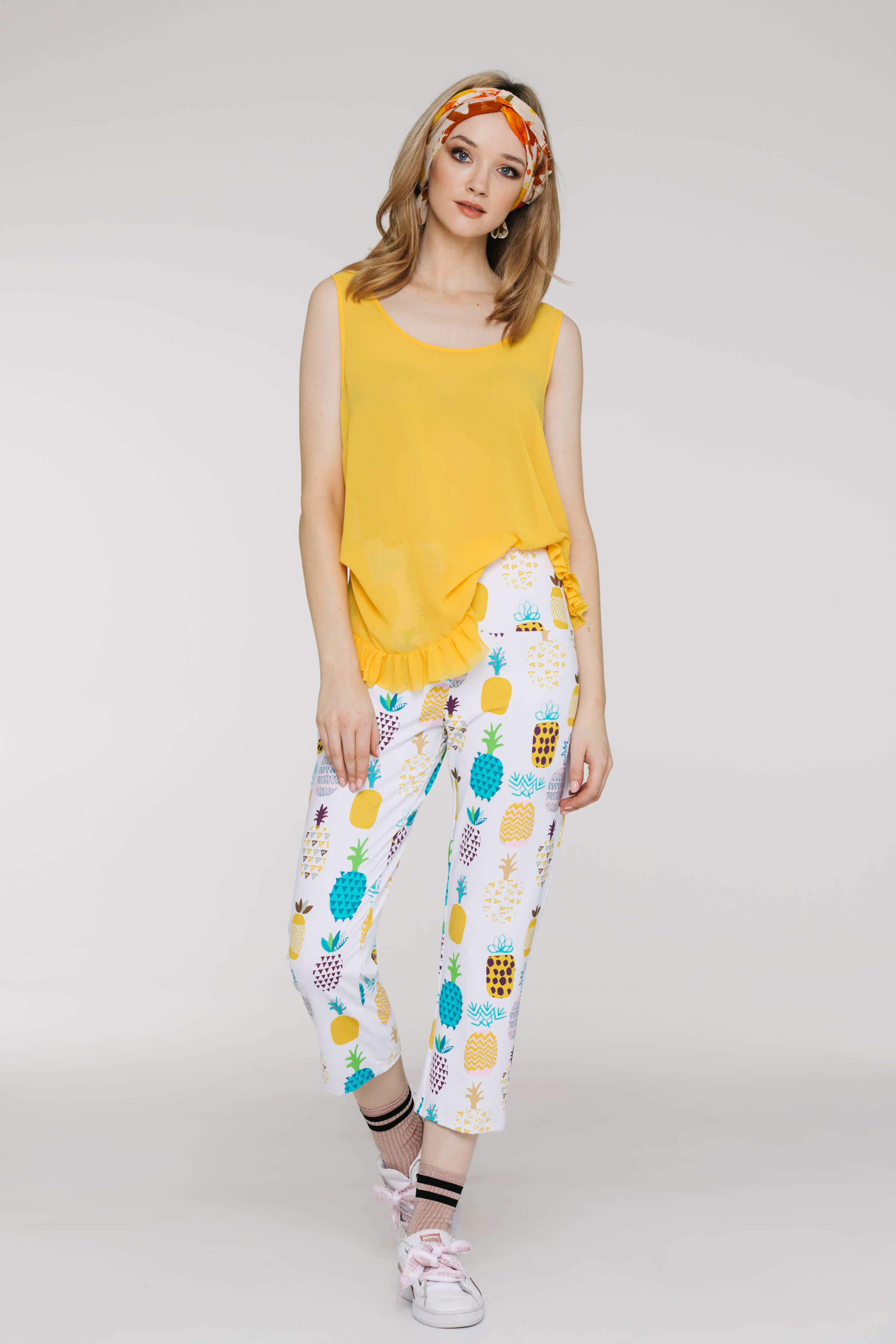Frilly Singlet 6465P Yellow, Pilazzo Pant 3432P Pina Colada