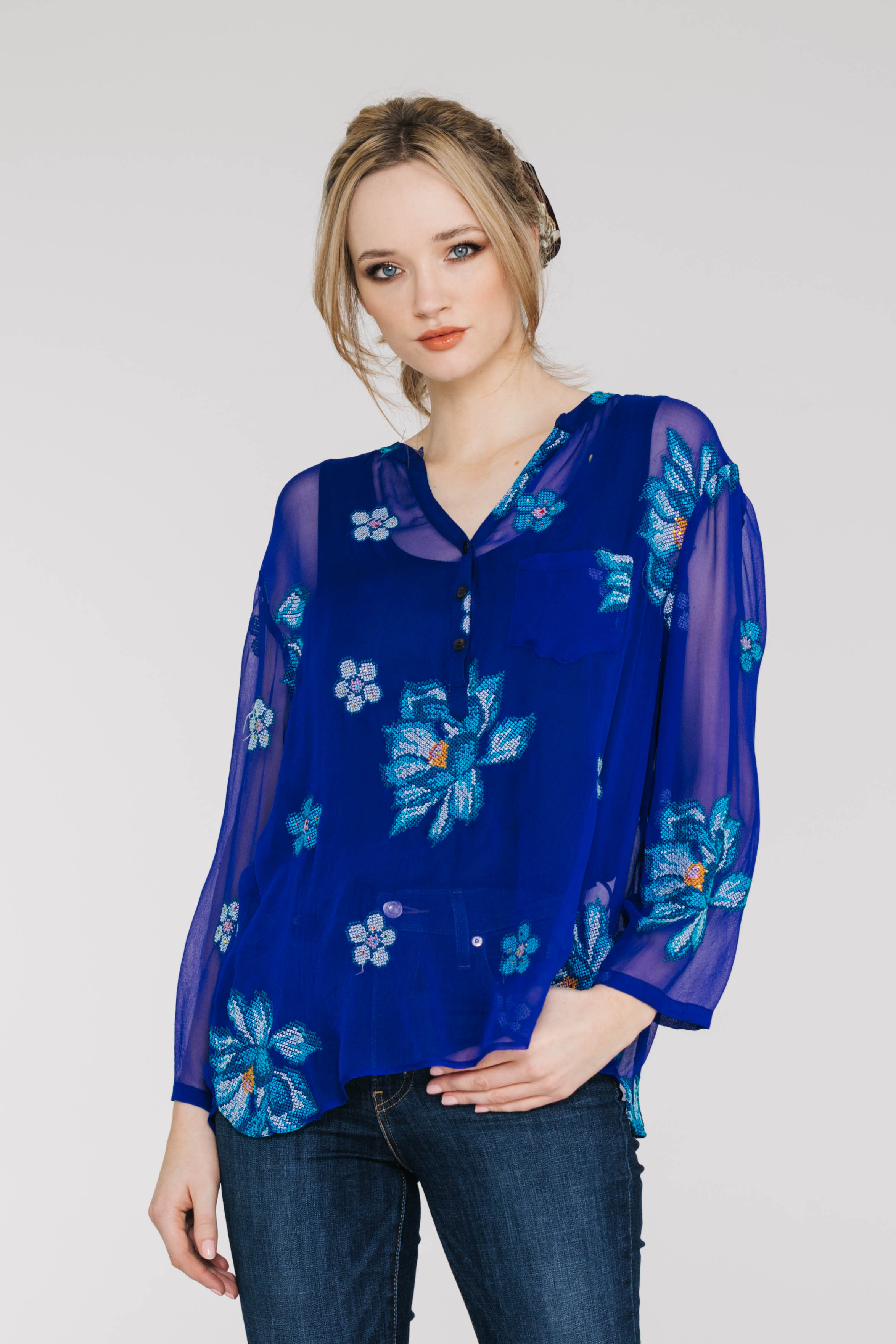 Starry Night Shirt 6473PA Starry Rose Blue