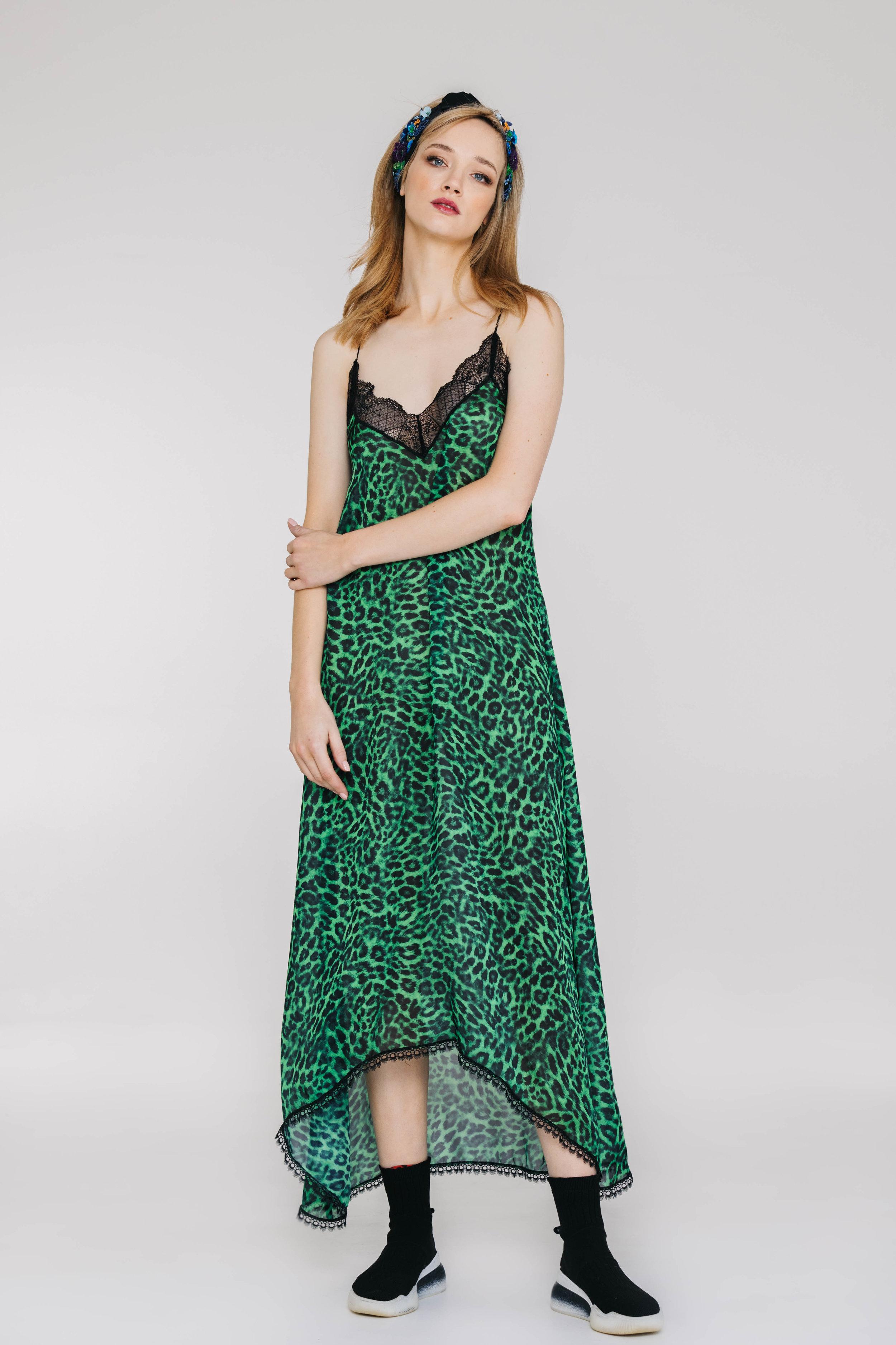 Honeymoon Dress 6469N Green Leopard