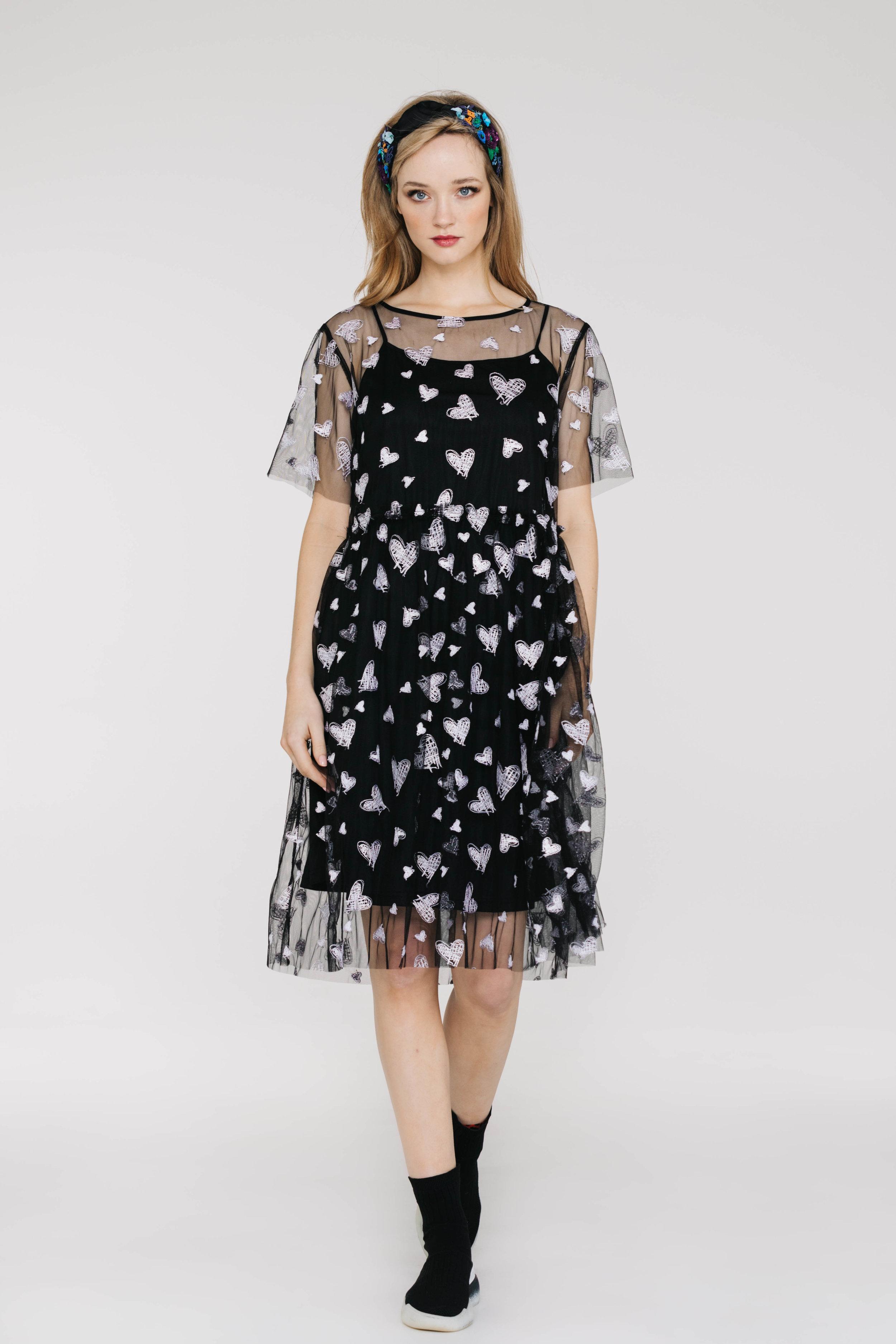 Mela Dress 6449N White Heart Black