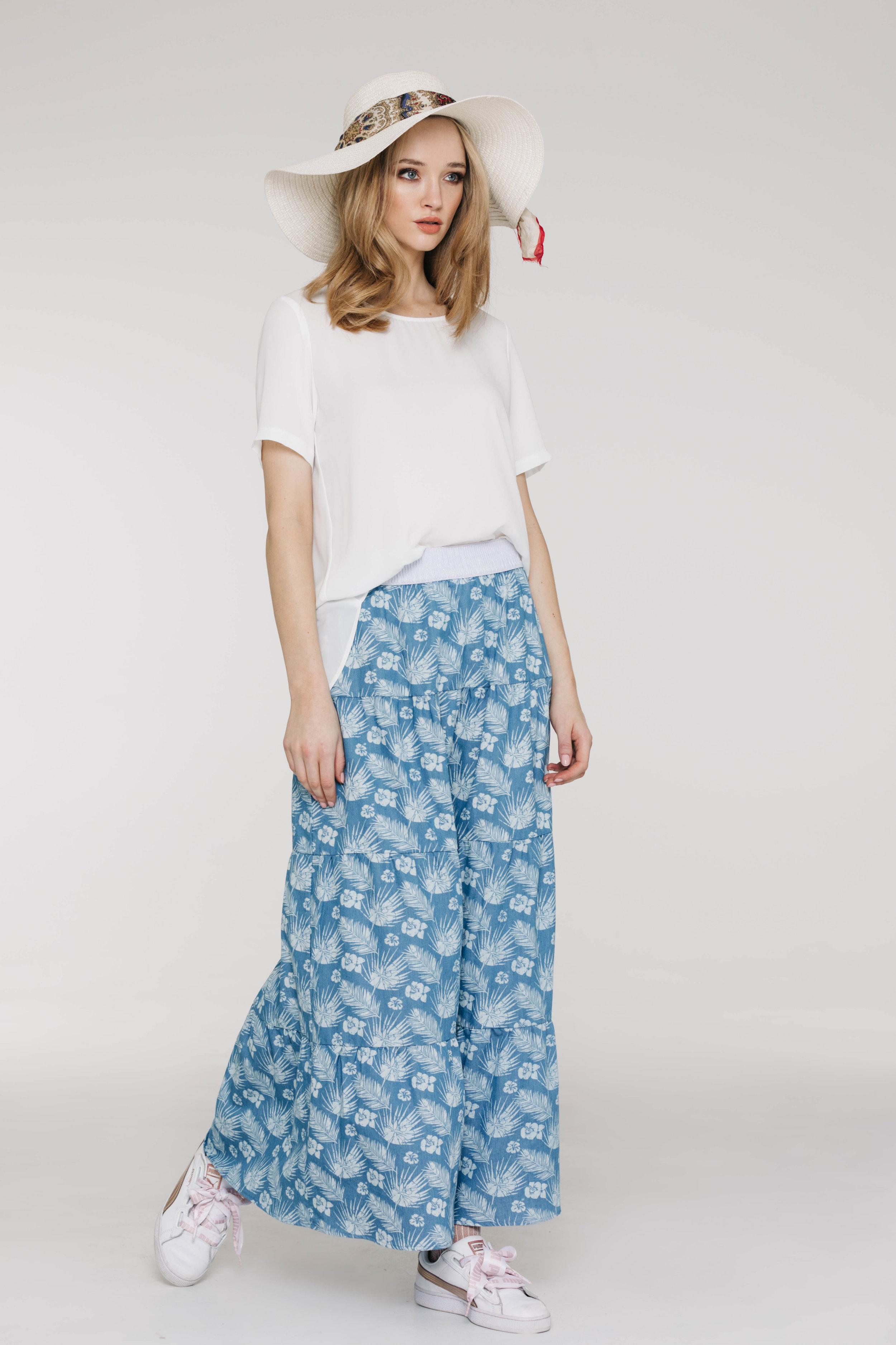 New Tux Tee 5173PA White, Dolly Skirt 6519N Hawaiian Denim