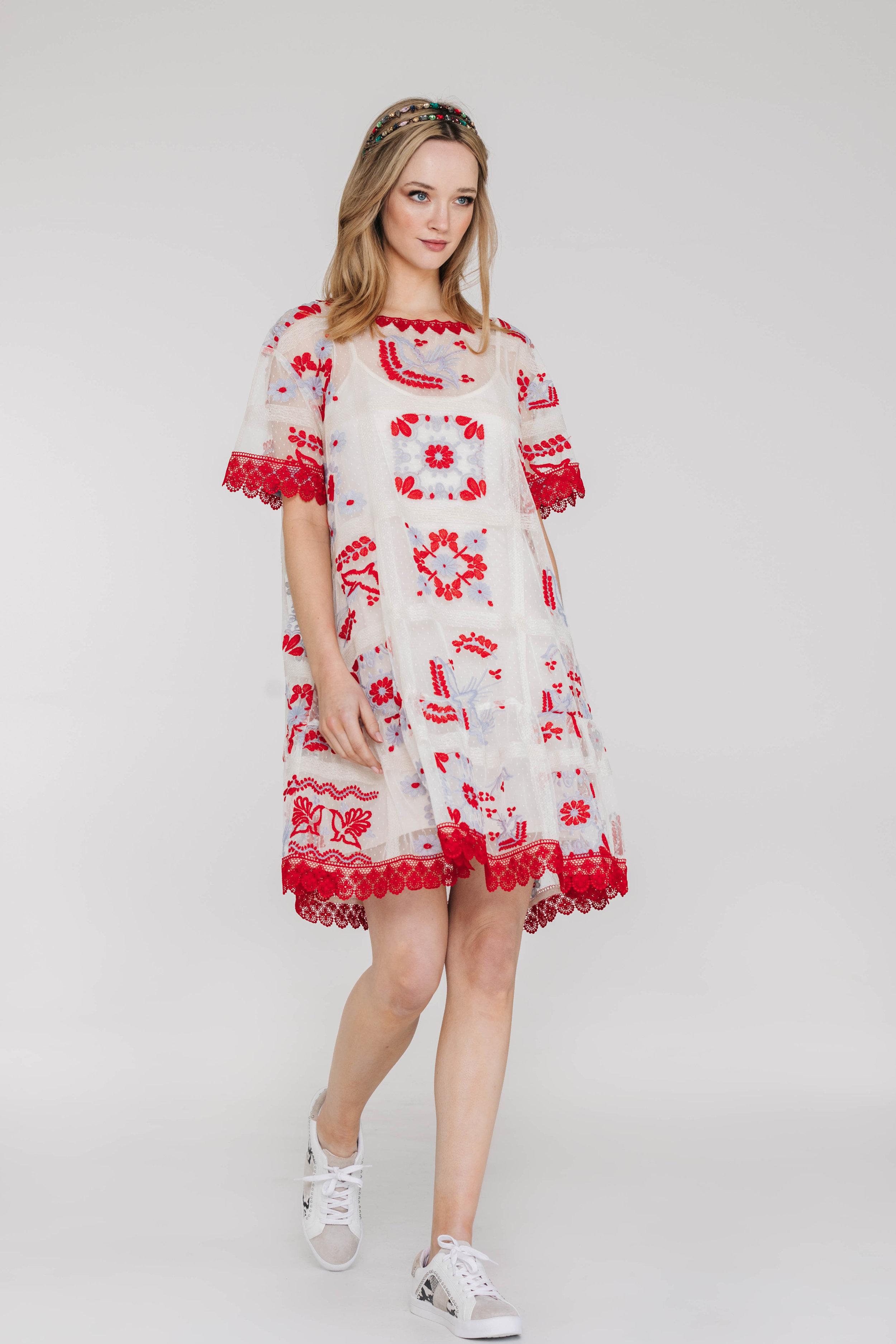 Tulip Dress 6440N Windows Ivory