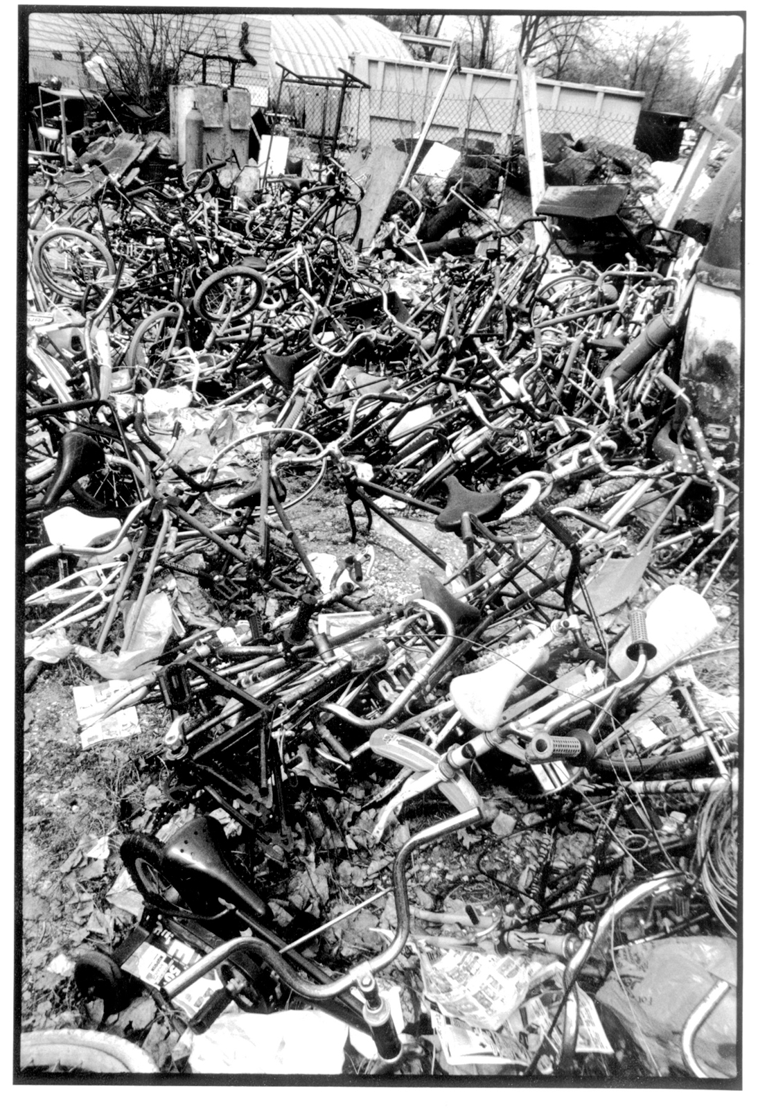 Pile of bikes at the former home of Bike Furniture Design,  Blackstone Bicycle Works in Chicago