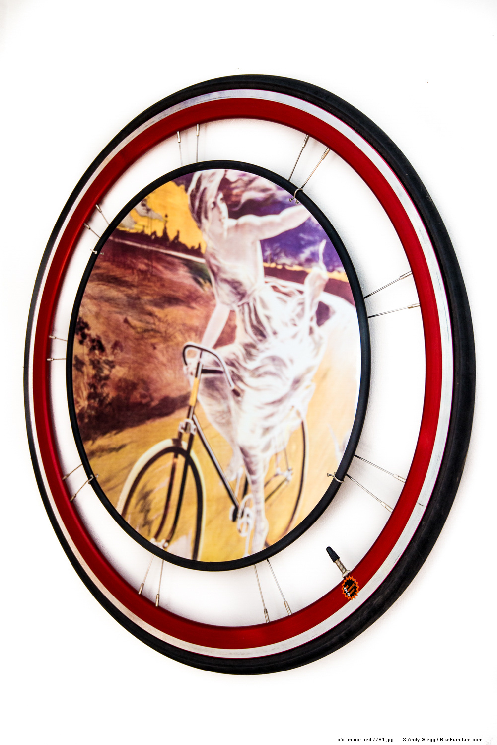 Bike Wheel Mirror - Road Red