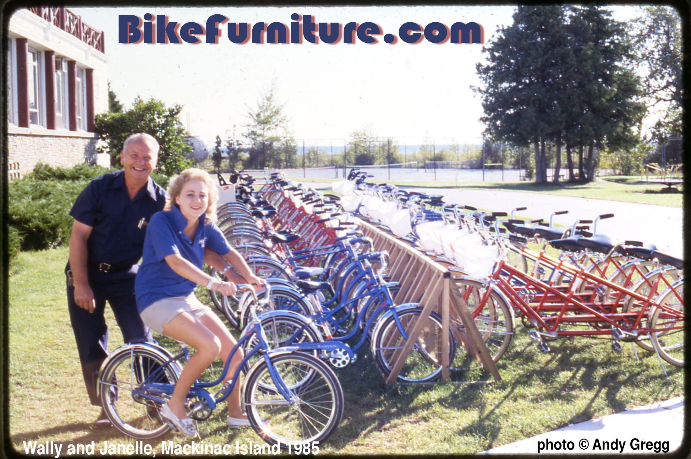 Wally and Janelle with a fleet of classic Schwinn rental bikes.  Summer 1985 - Island House (now Mission Point) Hotel - Mackinac Island, MI