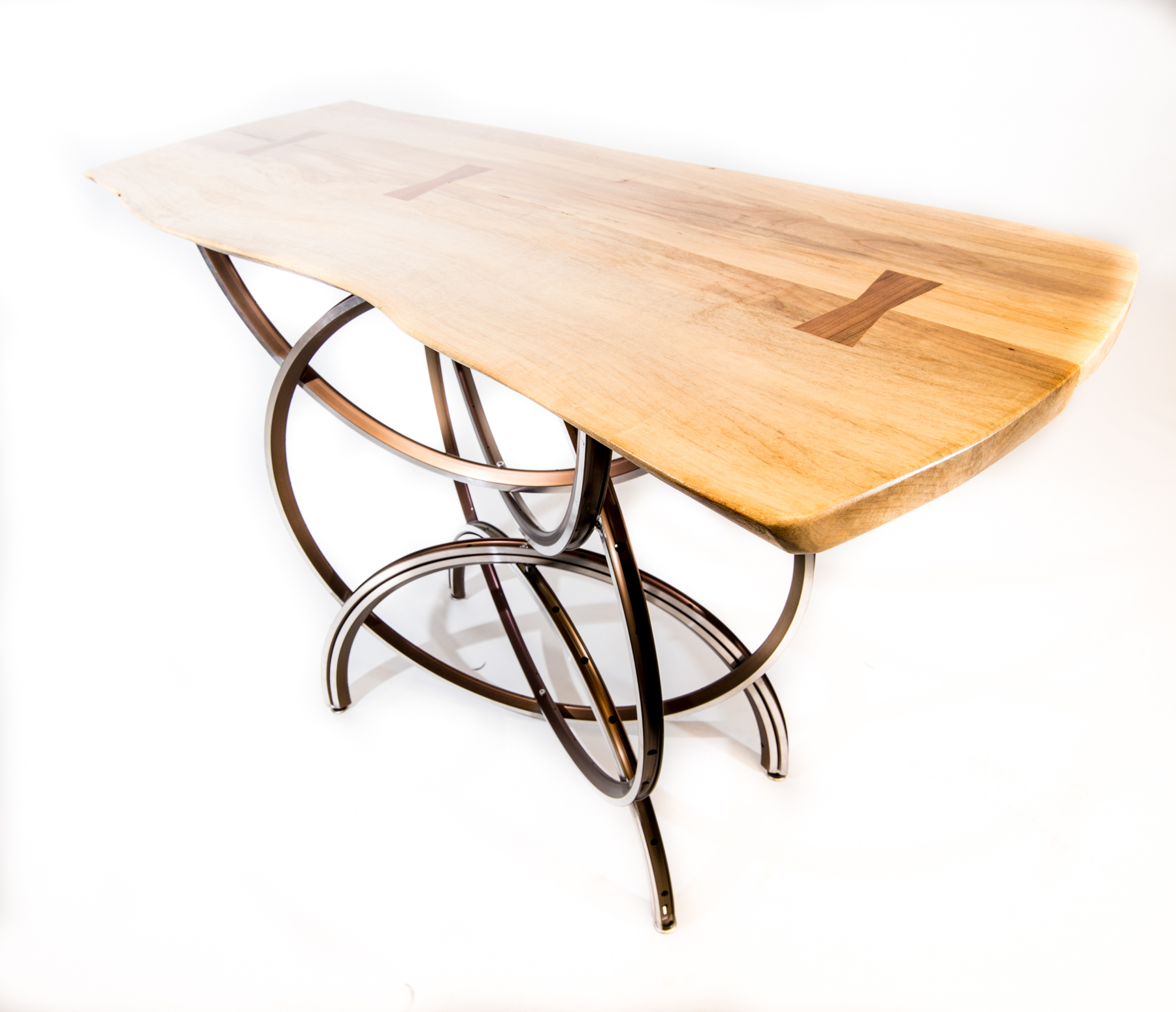 S-2 Aluminum Console/Cafe Table with wood top