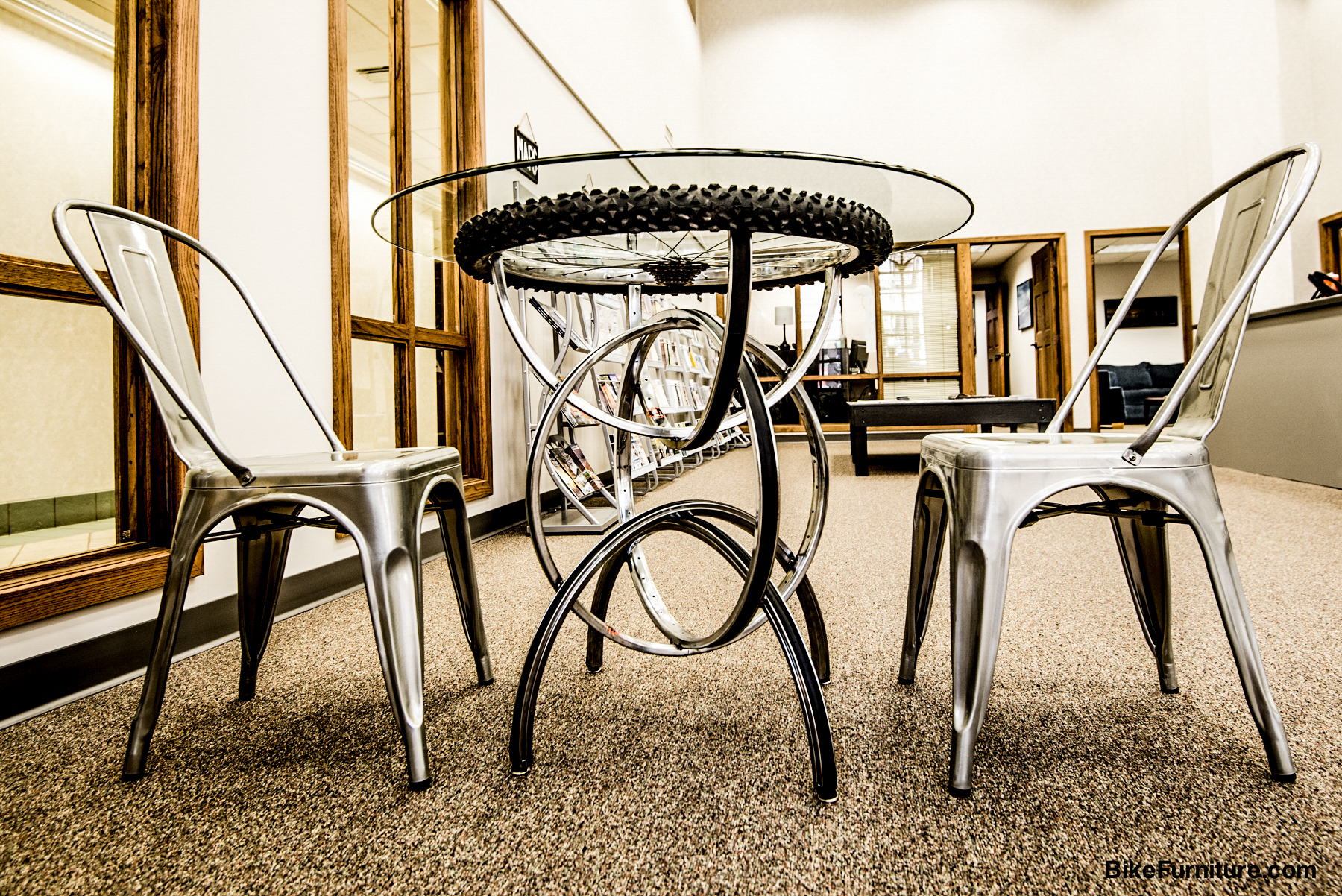 S-2 Cafe table with tire and sprockets