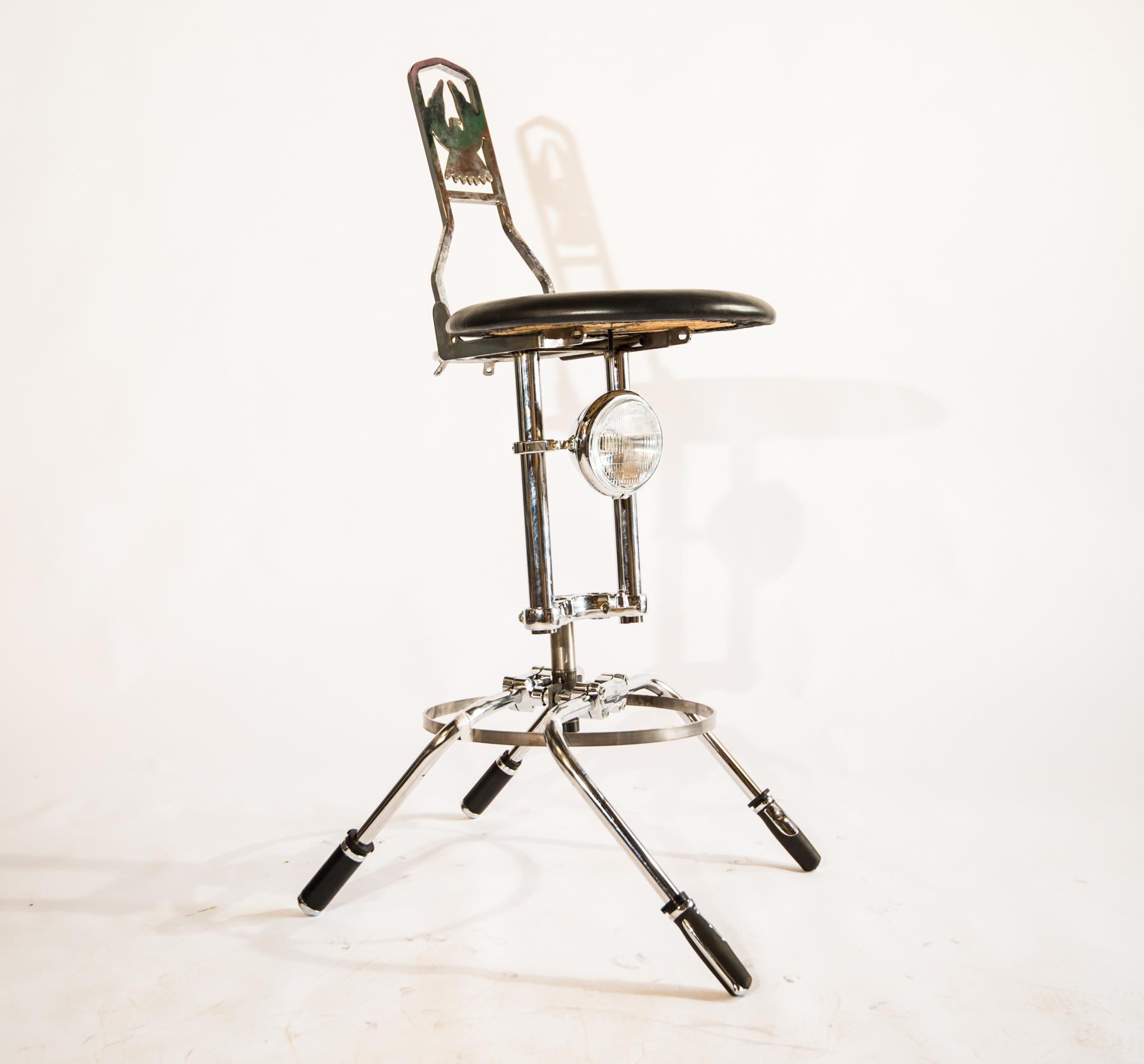 Moto stool prototype with sissy bar back