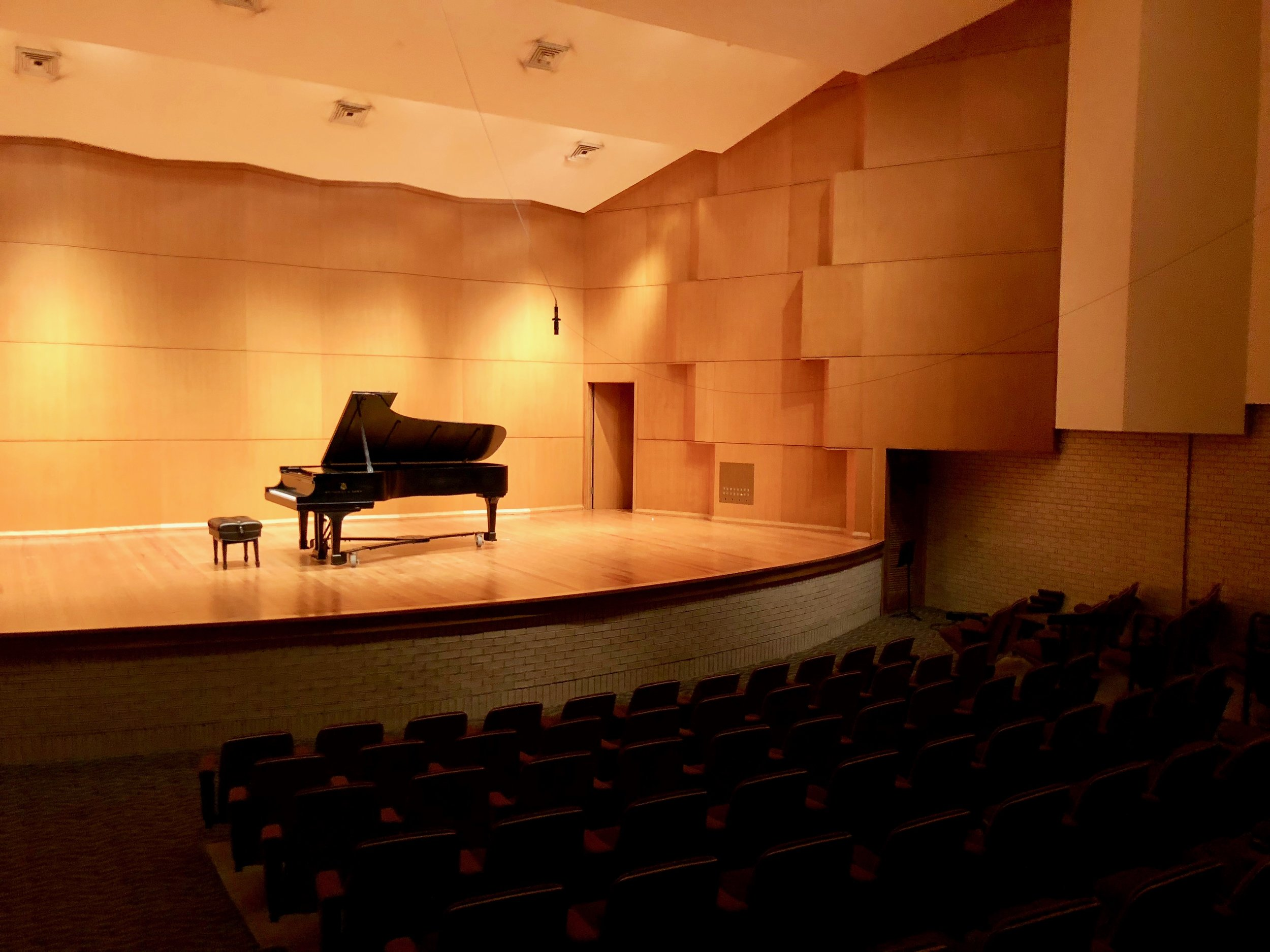the recital hall at LSU - the seats are purple & gold