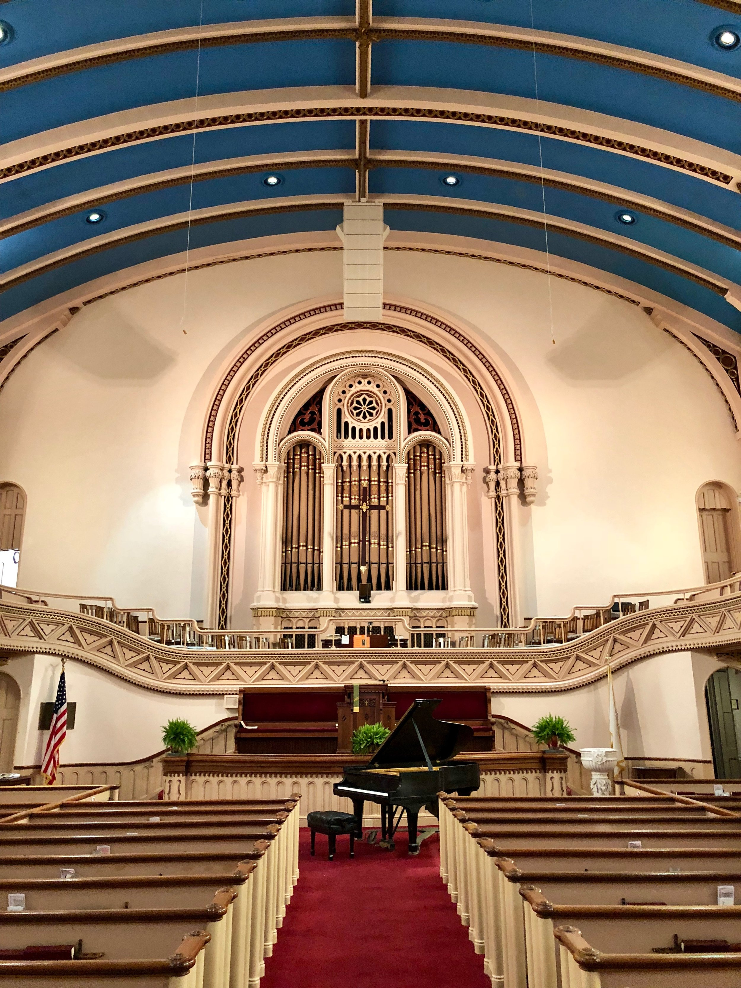 the beautiful sanctuary at Grace Congregational
