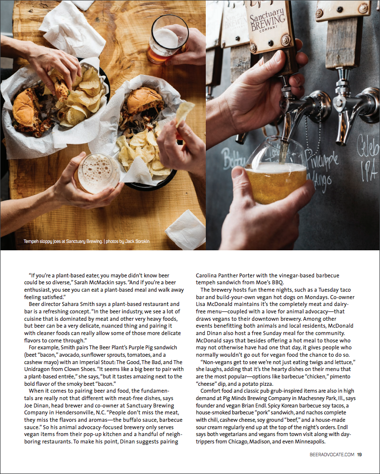 Beer Advocate Magazine Issue #121 February 2017 Sanctuary Brewing Hendersonville North Carolina Vegan Food and Beer Photography by Jack Sorokin