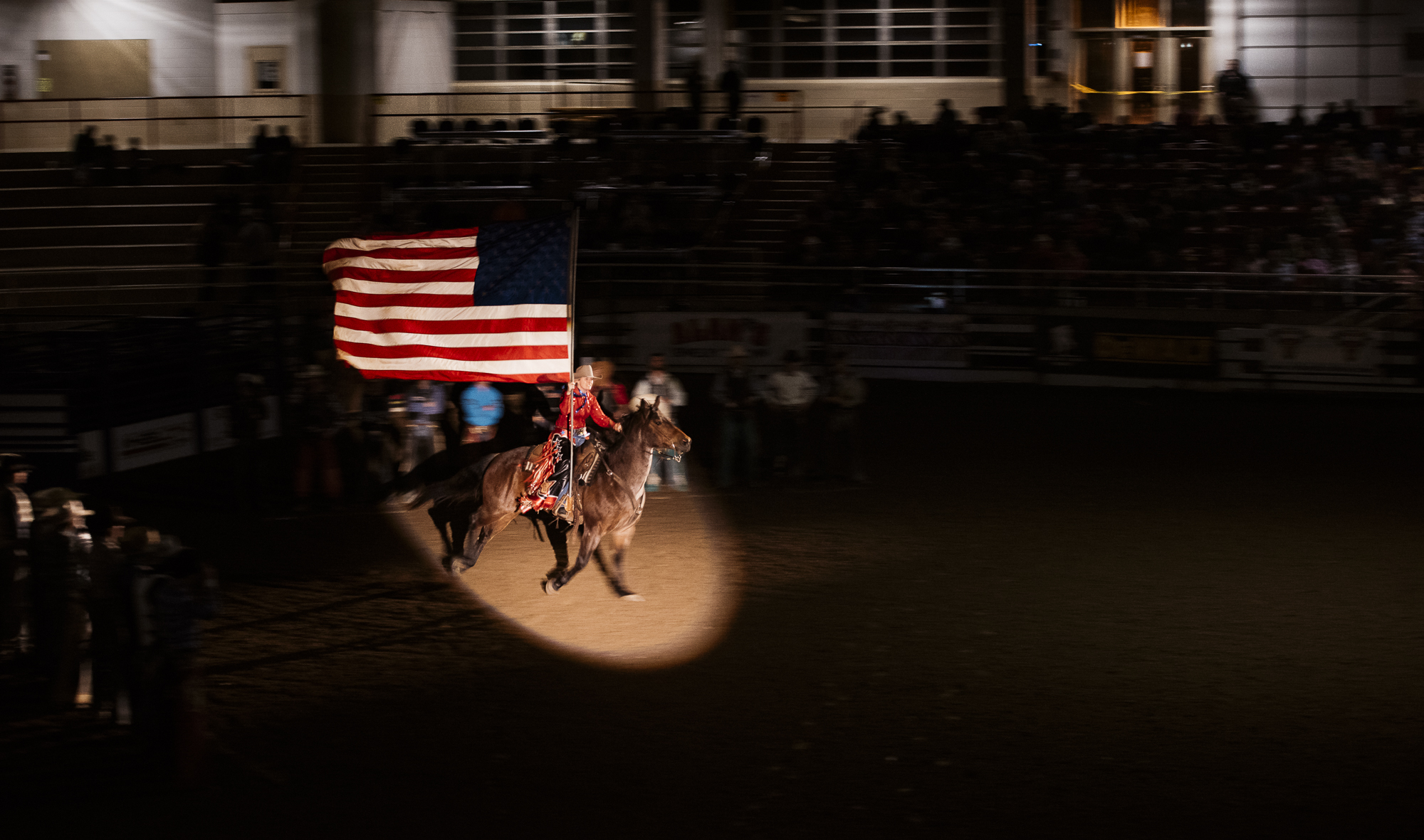 American Flag at bull riding rodeo event in Asheville North Carolina