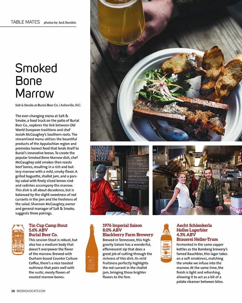 Beer Advocate Smoked Bone Marrow jack Sorokin salt and Smoke Asheville North Carolina Food photography portrait