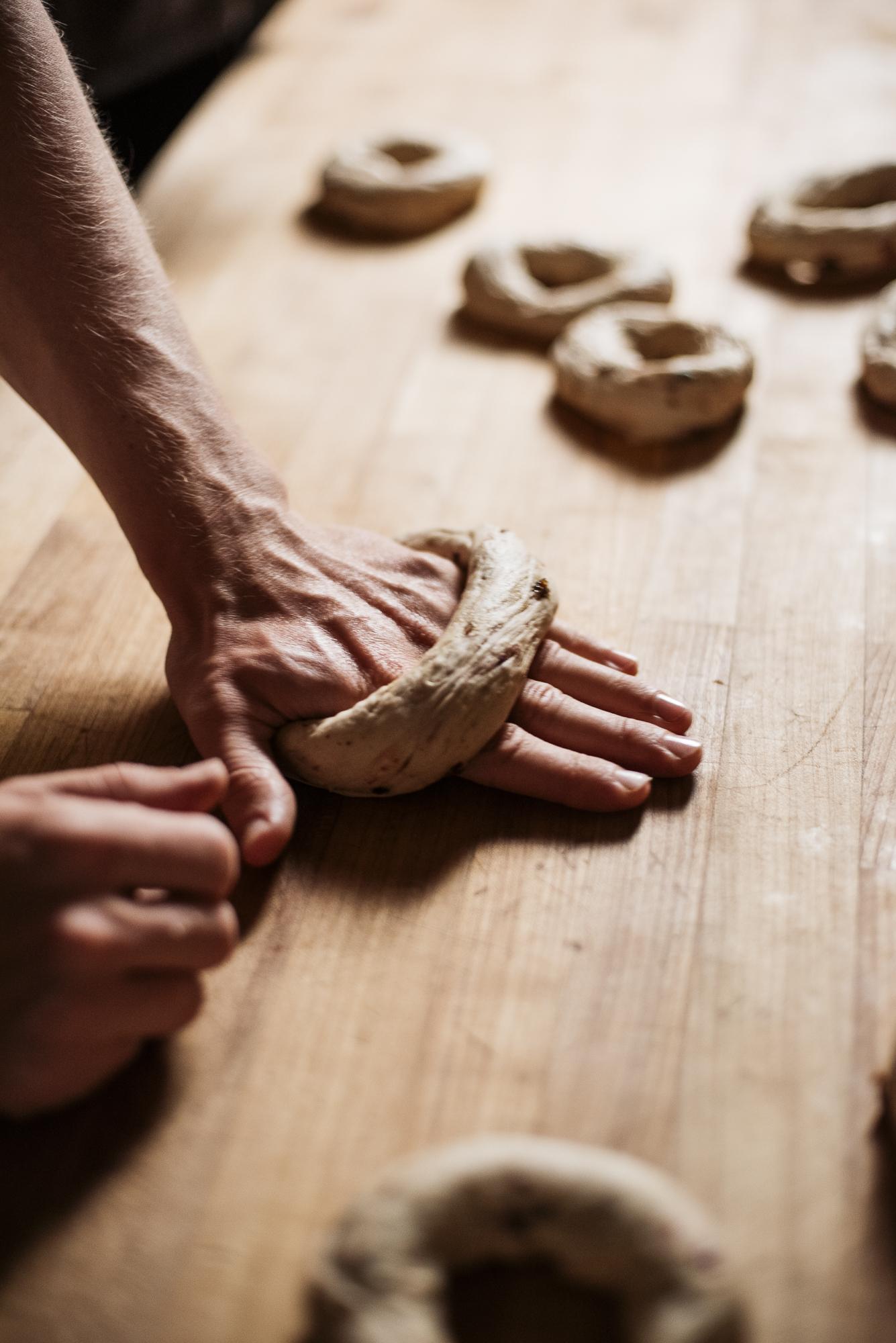 Home Free Bagels  Jack Sorokin Flame Food Photographer Asheville North Carolina NC Bakery Commercial Photography dough kneading