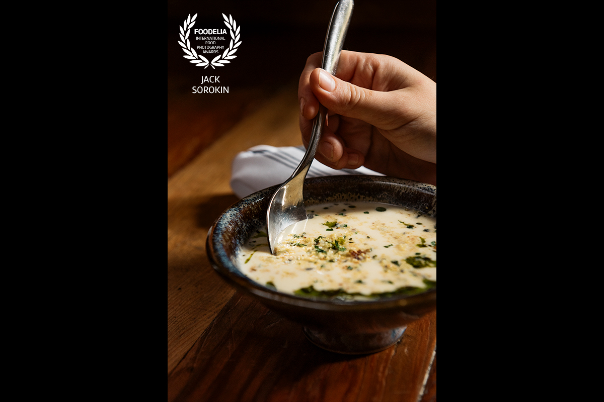 jack sorokin flame foodelia food photography contest award competition winner 28th soup appalachian buttermilk cornbread soup rhubarb john fleer asheville nc editorial our state magzine