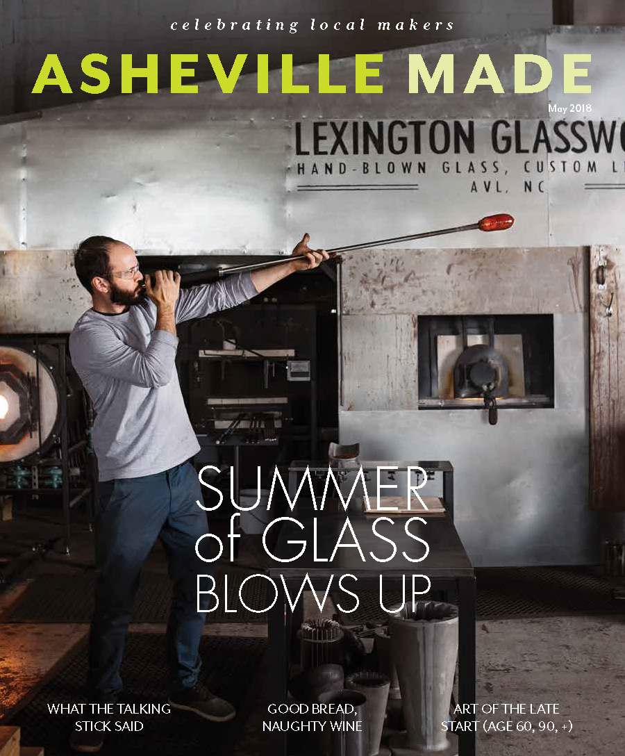 ASH MADE MAY 2018 COVER Jack Sorokin Lexington Glassworks Glass Studio Artist Blowing Asheville AVL commercial editorial Photographer MAagzine