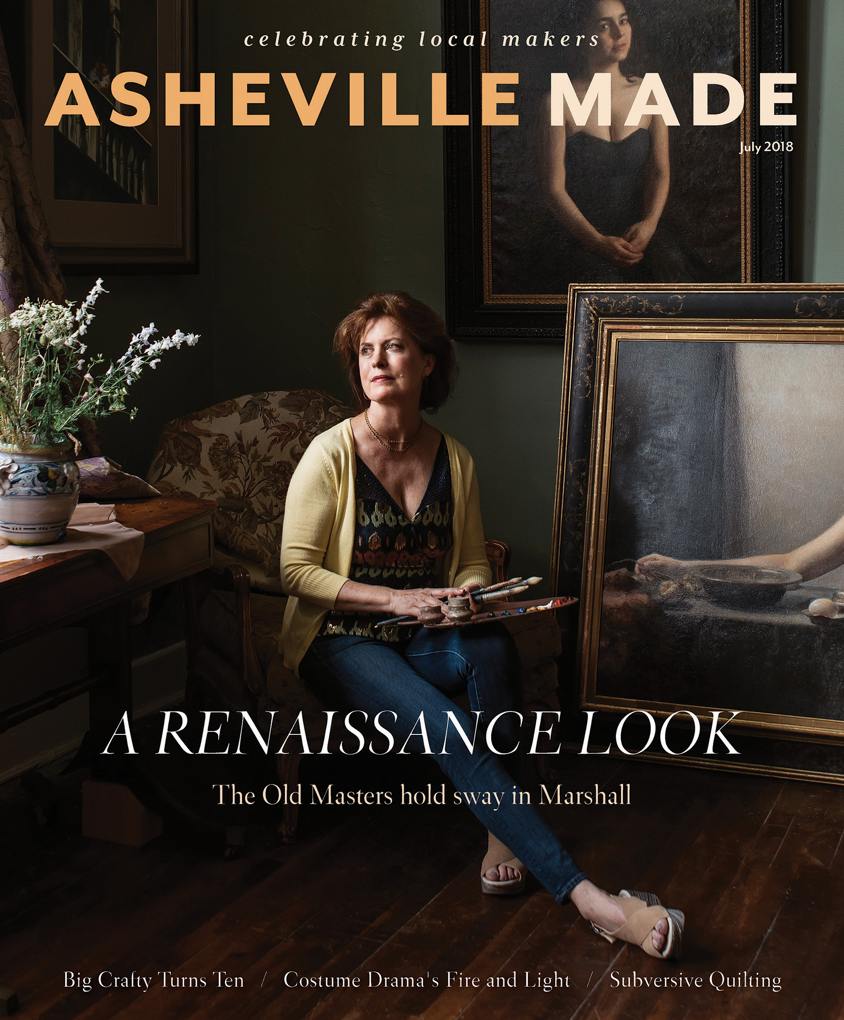 Michele Jim Ostlund Asheville Made Magazine Jack Sorokin Flame Artist Marshall commercial Photography editorial Asheville magazine cover 2018 july enviromental portraiture portrait